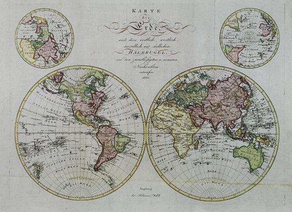 WALCH,J. -  Karte der Erde..