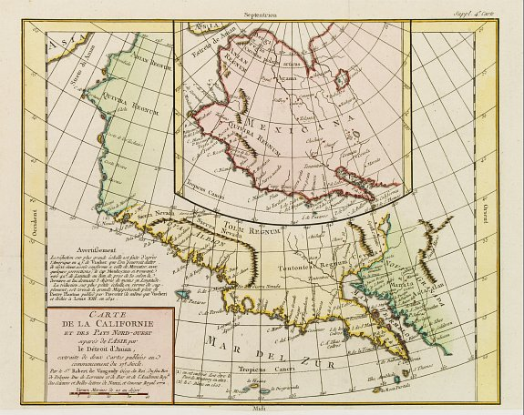 DIDEROT, D. -  Carte de la Californie et des Pays Nord-Ouest. . .