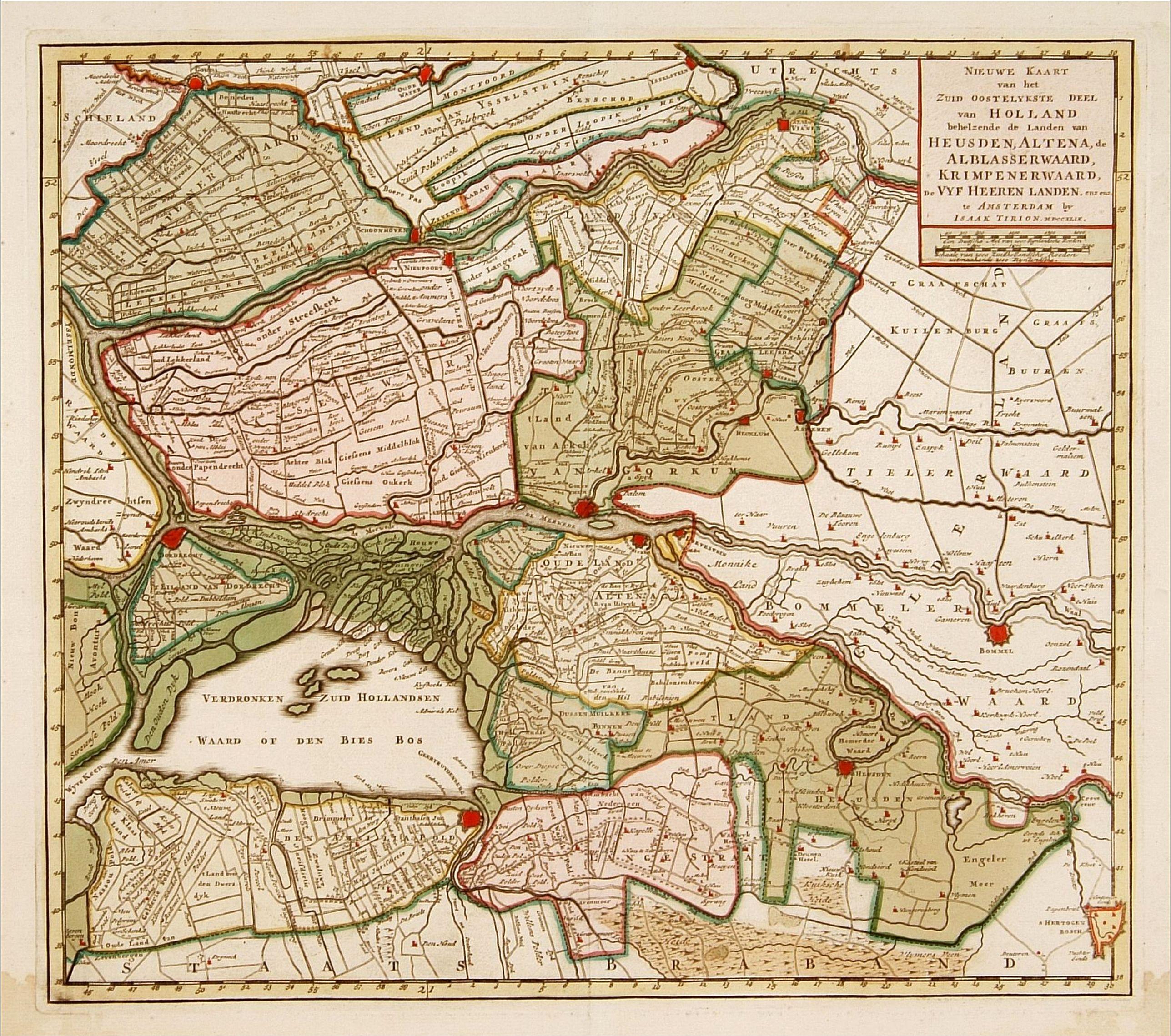 TIRION, I. -  Nieuwe kaart van het oostelykste deel van Holland. . .