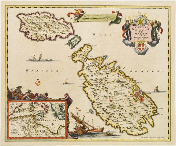 VISSCHER, N.,  Insularum Melitae vulgo Maltae et Gozae. . ., antique map, old maps