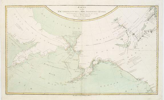 SCHRAEMBL, F.A. -  Karte von den N.W. Amerikanischen und N.OE. Asiatischen Kusten nach den Untersuchungen des Kapit. Cook in den Jah. 1778 und 1779