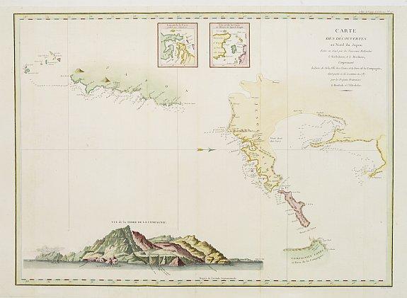LA PEROUSE,J.F.G. -  Carte des découvertes au Nord du Japon.
