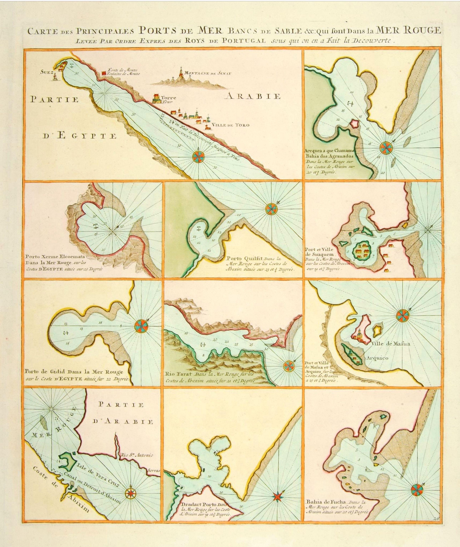 MORTIER, P. -  Carte des Principales Ports de Mer Bancs de sable &c: qui sont dans la Mer Rouge..
