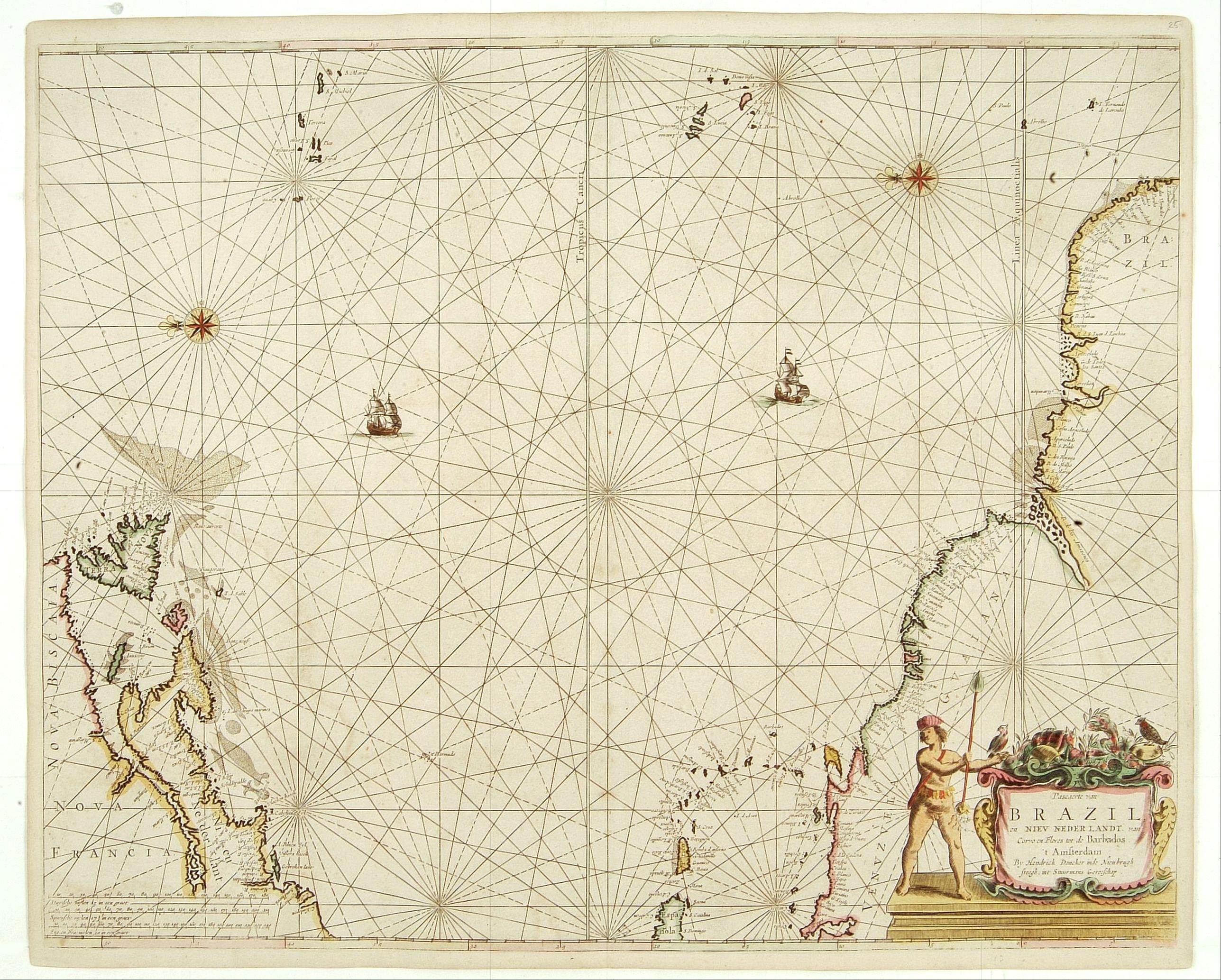 DONCKER, H. -  Pascaerte van Brazil en NieuNederlandt van Cuorvo en Flores