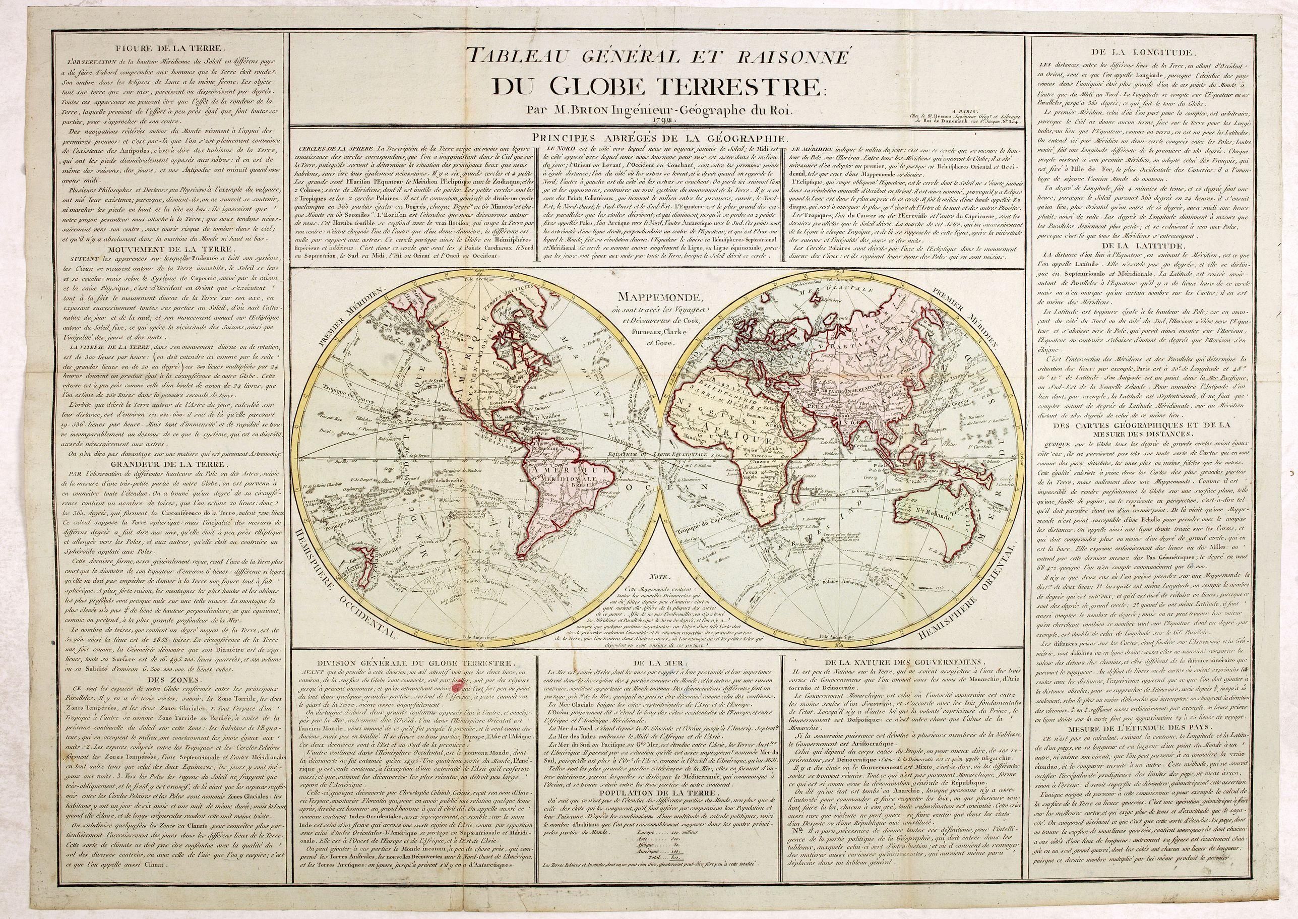 DESNOS/ BRION -  Tableau général et raisonné du Globe Terrestre. . .