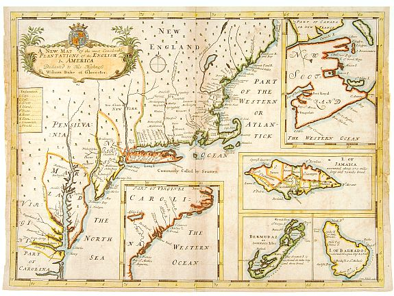 WELLS,E., A new map of.. Plantations of the English in America.., antique map, old maps