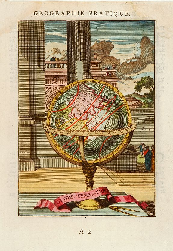 MALLET, A.M.,  Globe Terestre., antique map, old maps