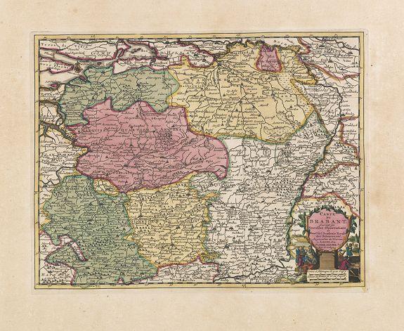 VAN DER AA, P. -  Carte du Brabant, suivant les Nouvelles Observations de Messrs de L'Academie Royale des Sciences etc. . .