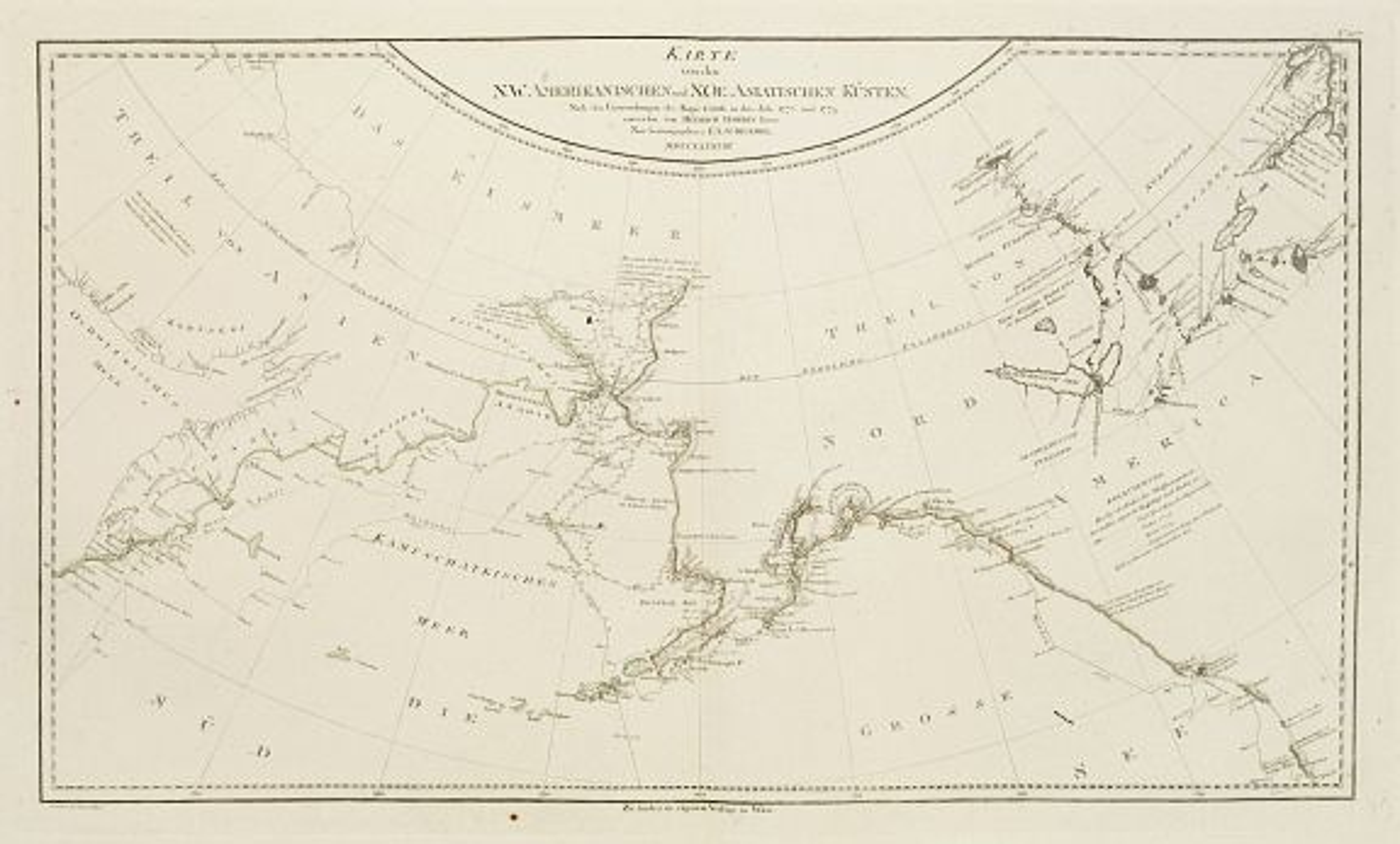 SCHRAEMBL, F.A. -  Karte von den N.W.Amerikanische und N.O.E. Asia..