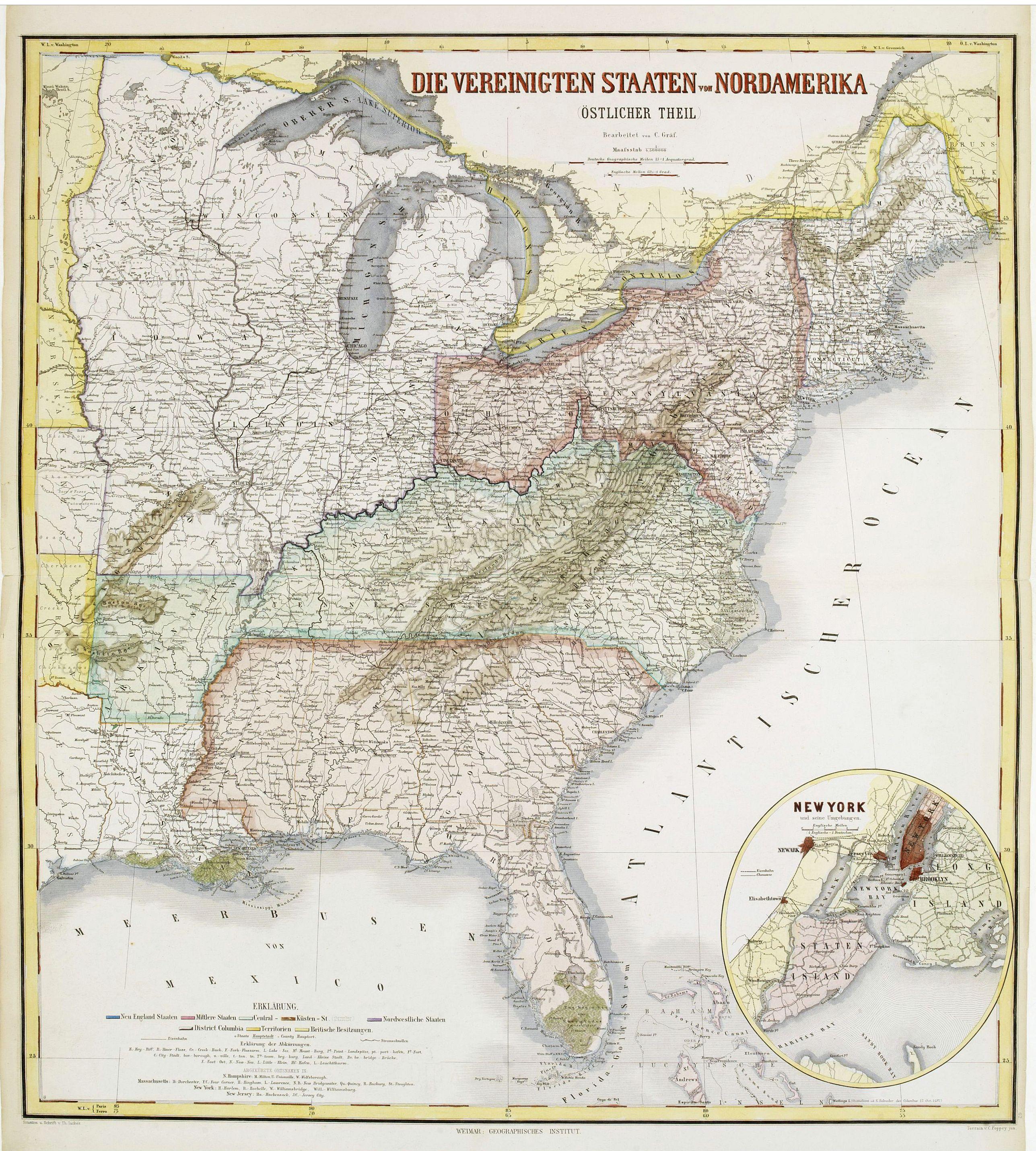 GEOGRAPHISCHES INSTITUT -  Die Vereinigten Staten von Nordamerika (Ostlicher theil).