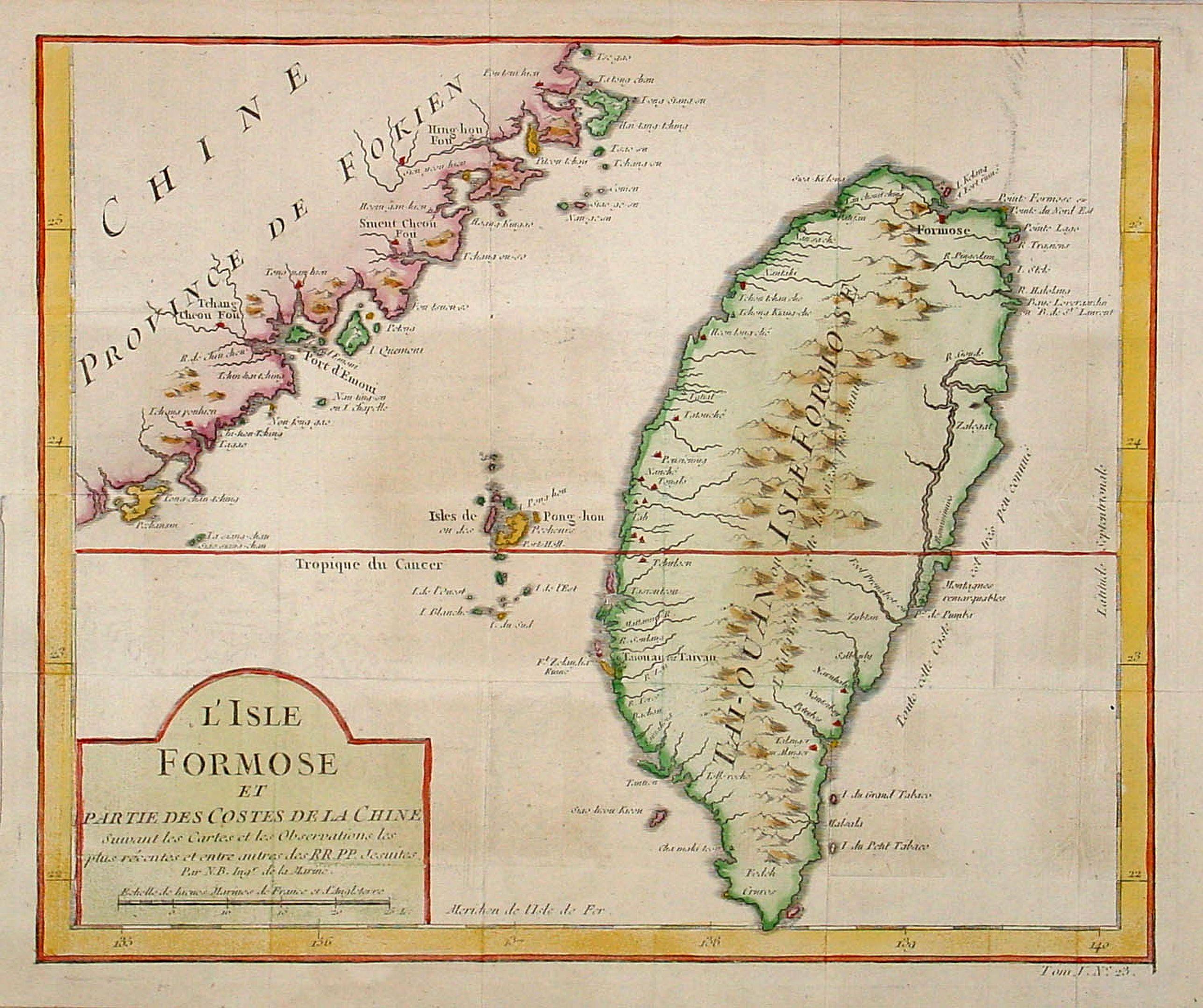BELLIN, J.N. -  L'Isle Formose et parties des Costes de la Chine. . .