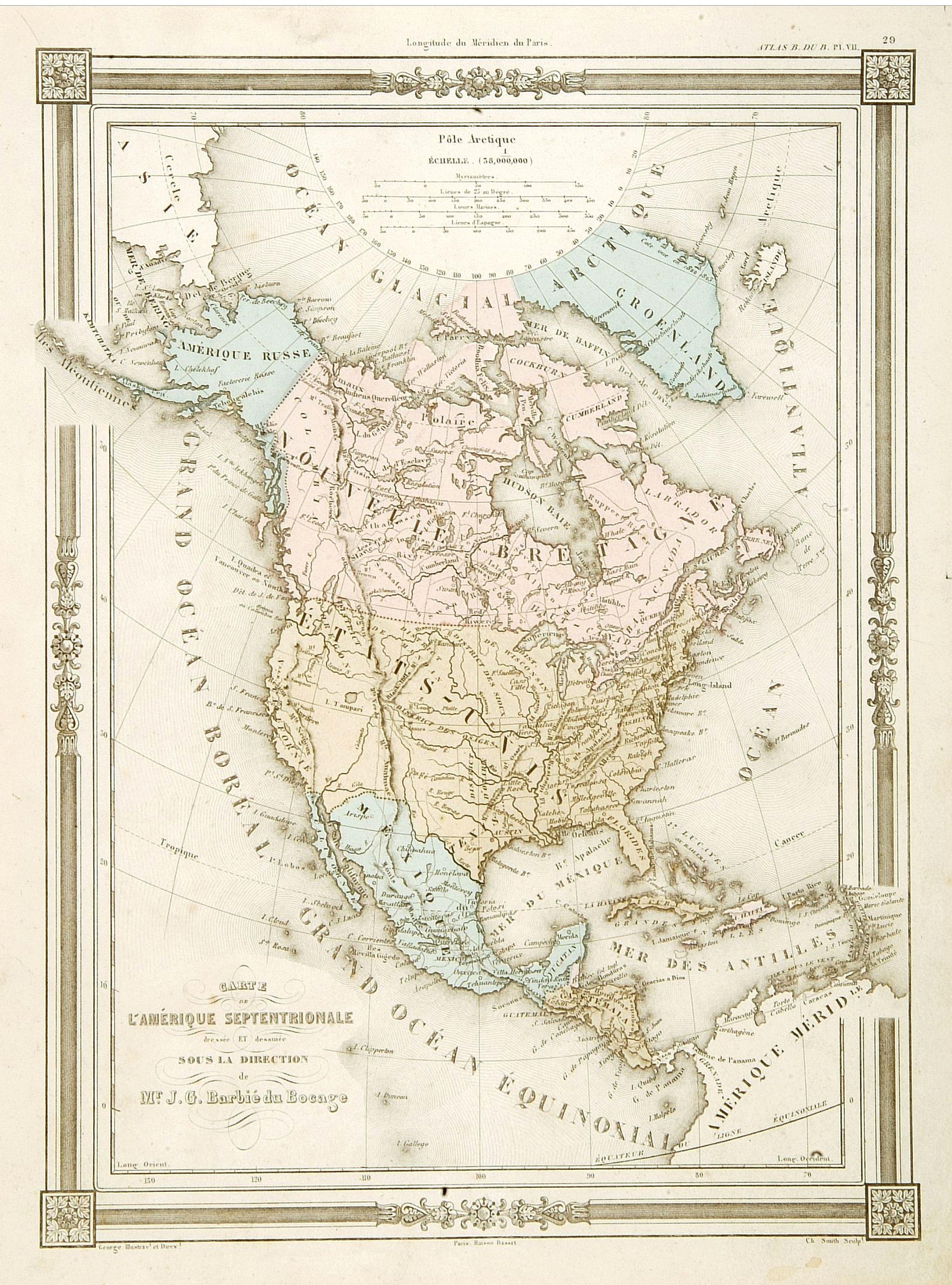 BASSET -  Carte L'Amérique Septentrionale..