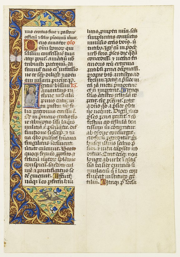 Brevier, Leaf on vellum from a manuscript Brevier., antique map, old maps