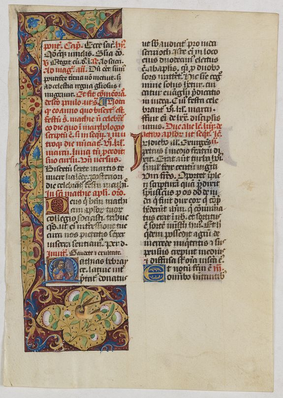 BREVIER -  Leaf on vellum from a manuscript Brevier.