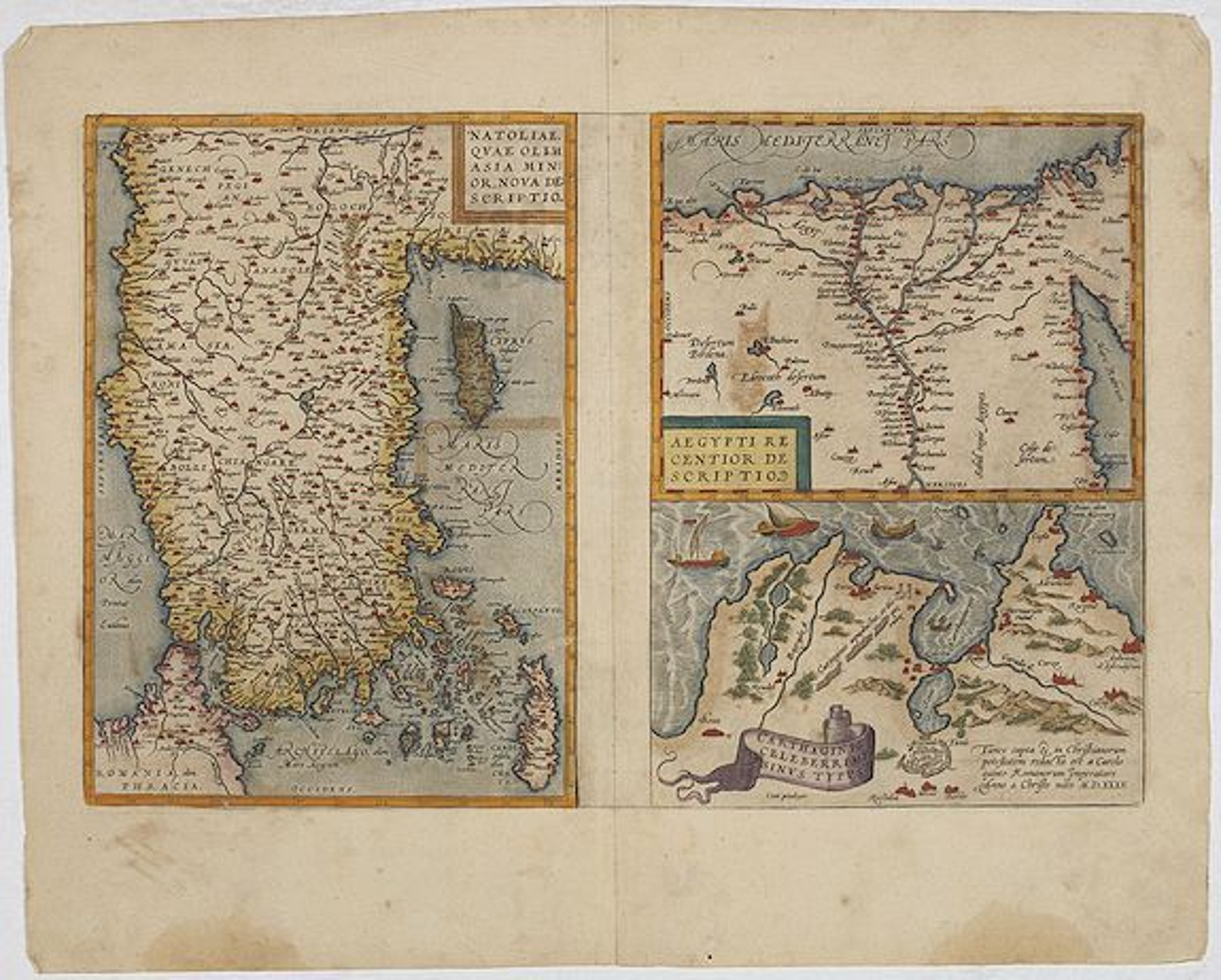ORTELIUS, A. -  Natoliae..Aegypti recentior..Carthaginis (3 maps on 1 sheet)
