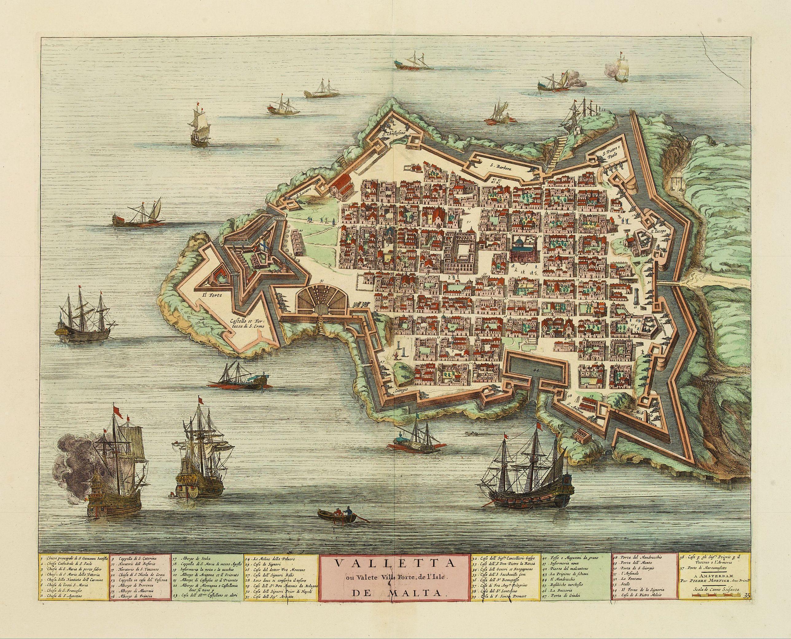 BLAEU, J./ MORTIER, P. -  Valletta ou Valete ville Forte, de l