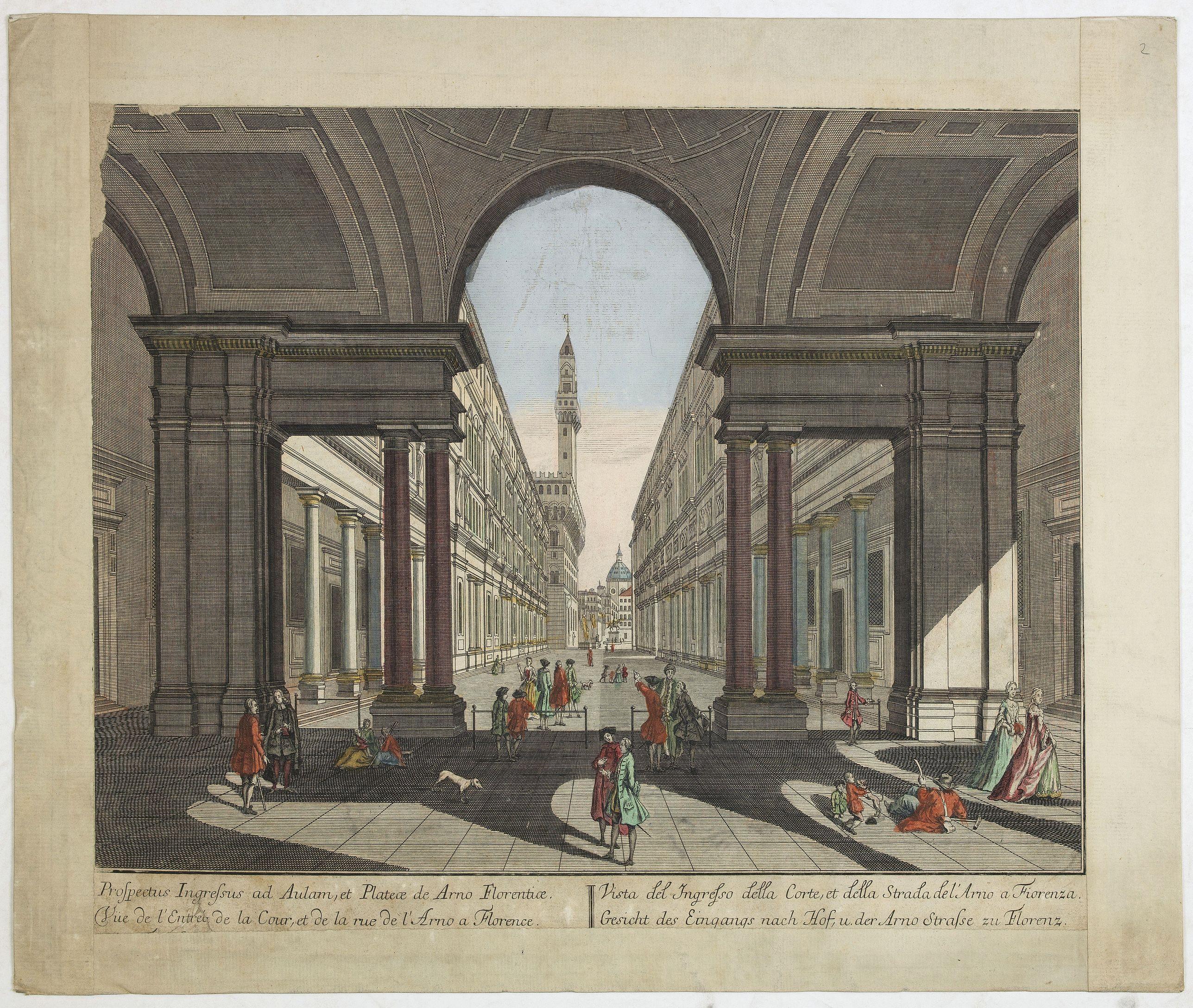 PROBST, J. -  Vue de l'Entree de la Cour.. de la rue de l'Arno a Florence
