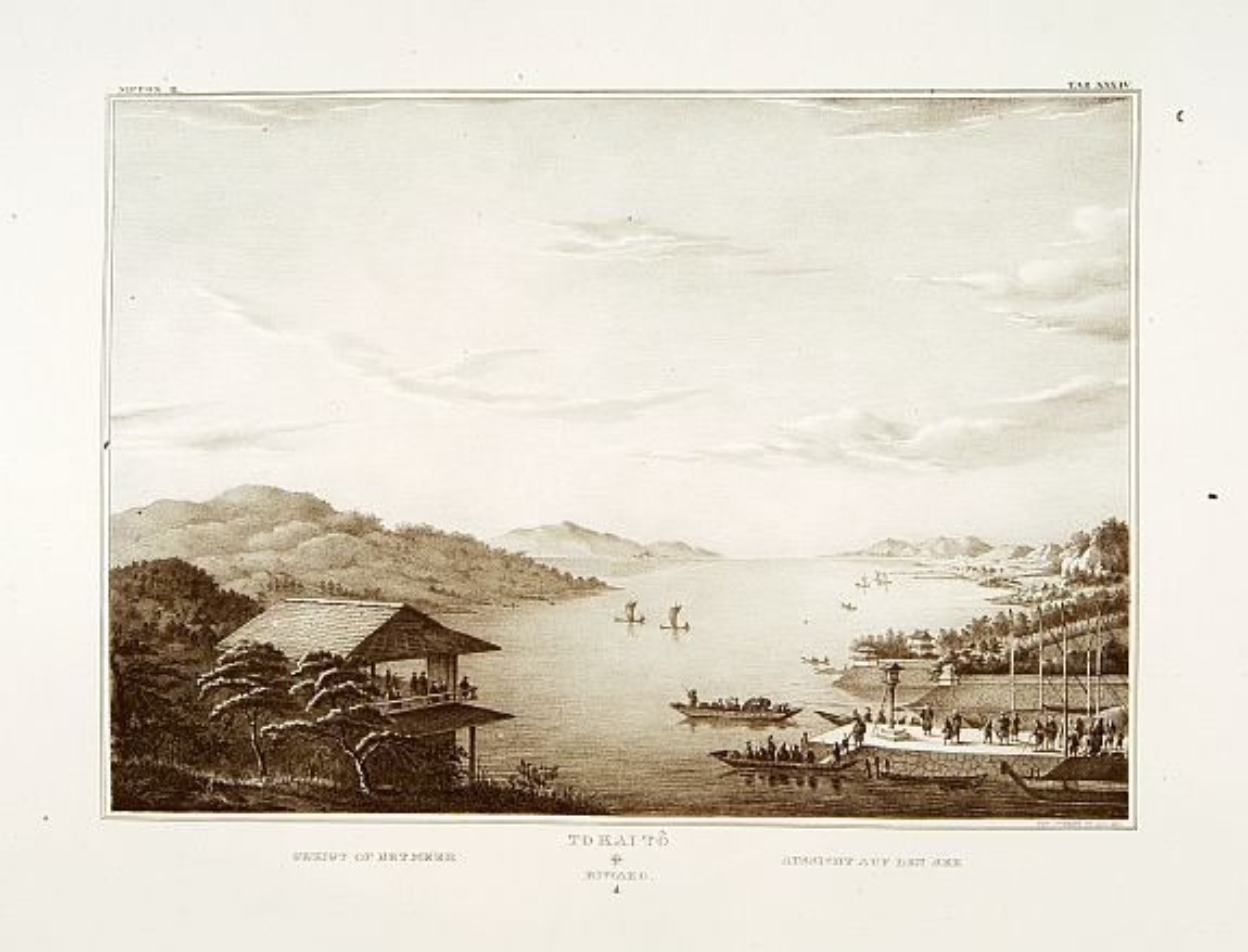 VON SIEBOLD, P.Fr.B. -  Gezicht op het Meer Tokaitç / Biwa-ko.