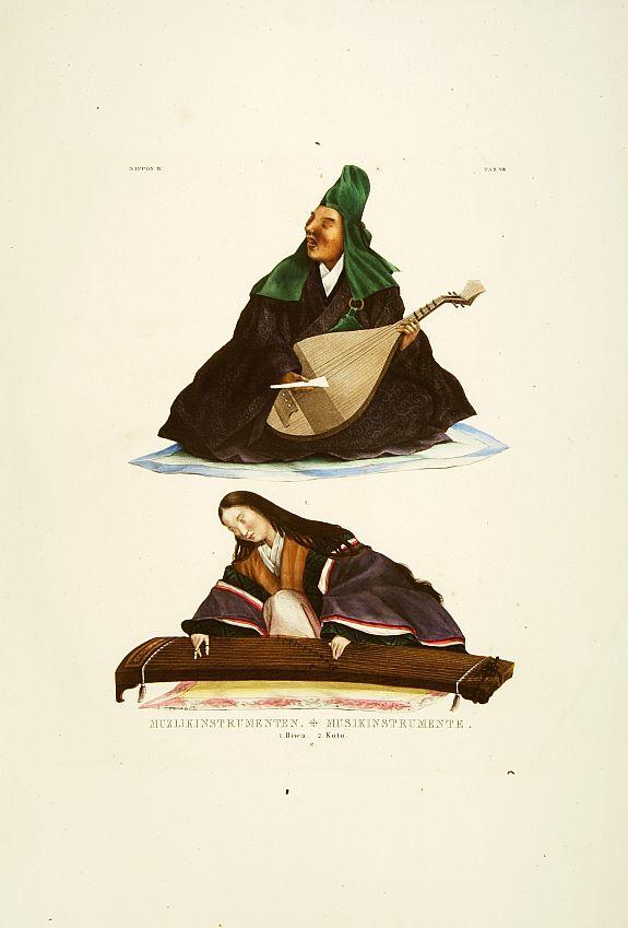 VON SIEBOLD, P.Fr.B. -  Muzijkinstrumenten Biwa / Koto.