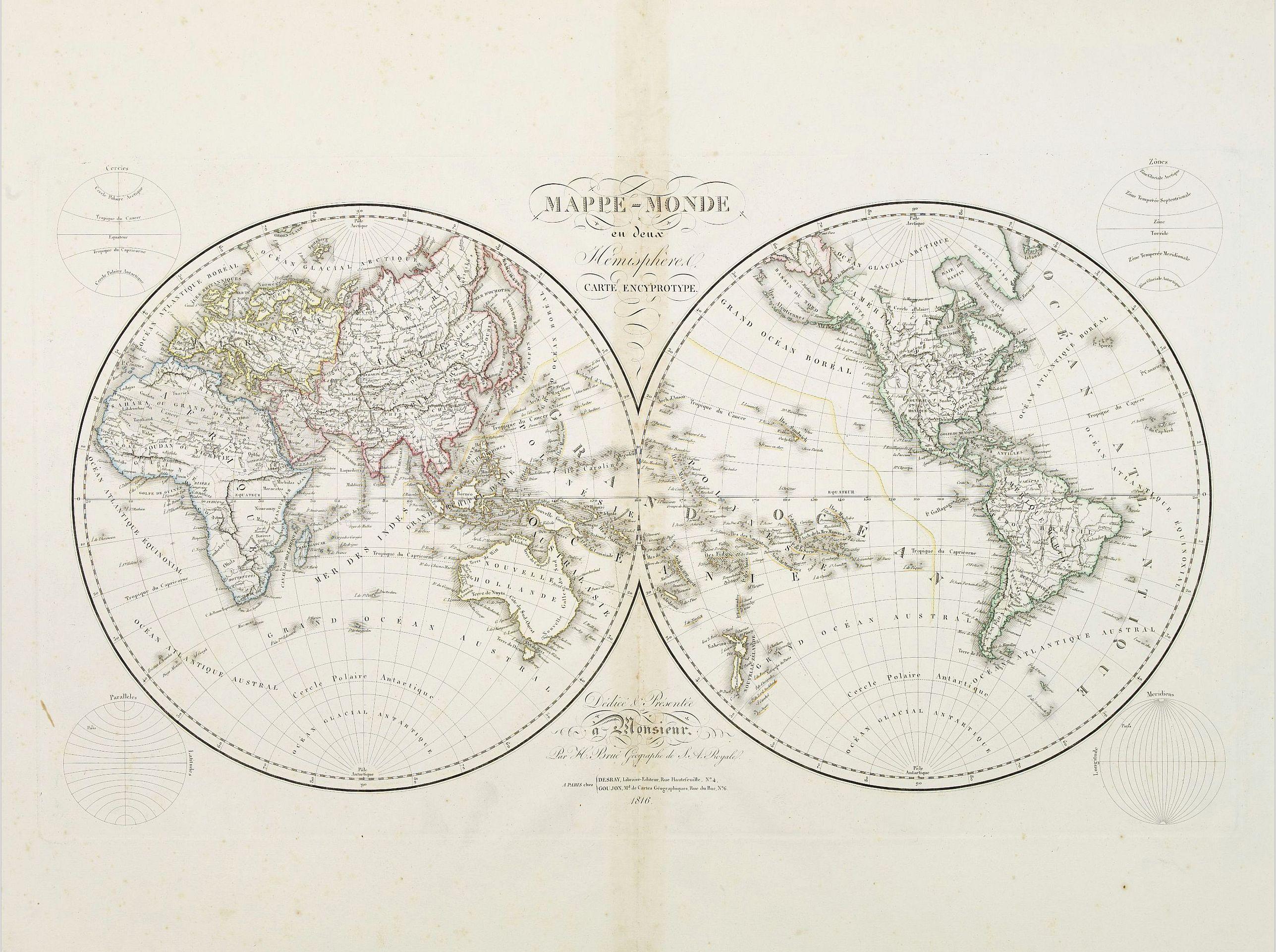 BRUE, H. -  Mappe-Monde en deux Hémisphere carte encyprotupe..