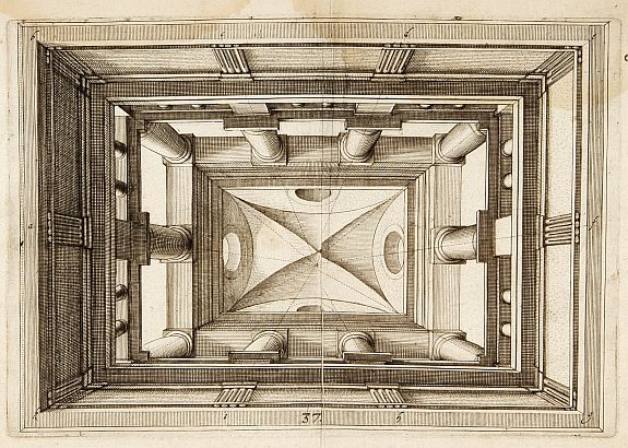 VREDEMAN DE VRIES,J./ HONDIUS,H. -  Perspective print by Vredeman de Vries.