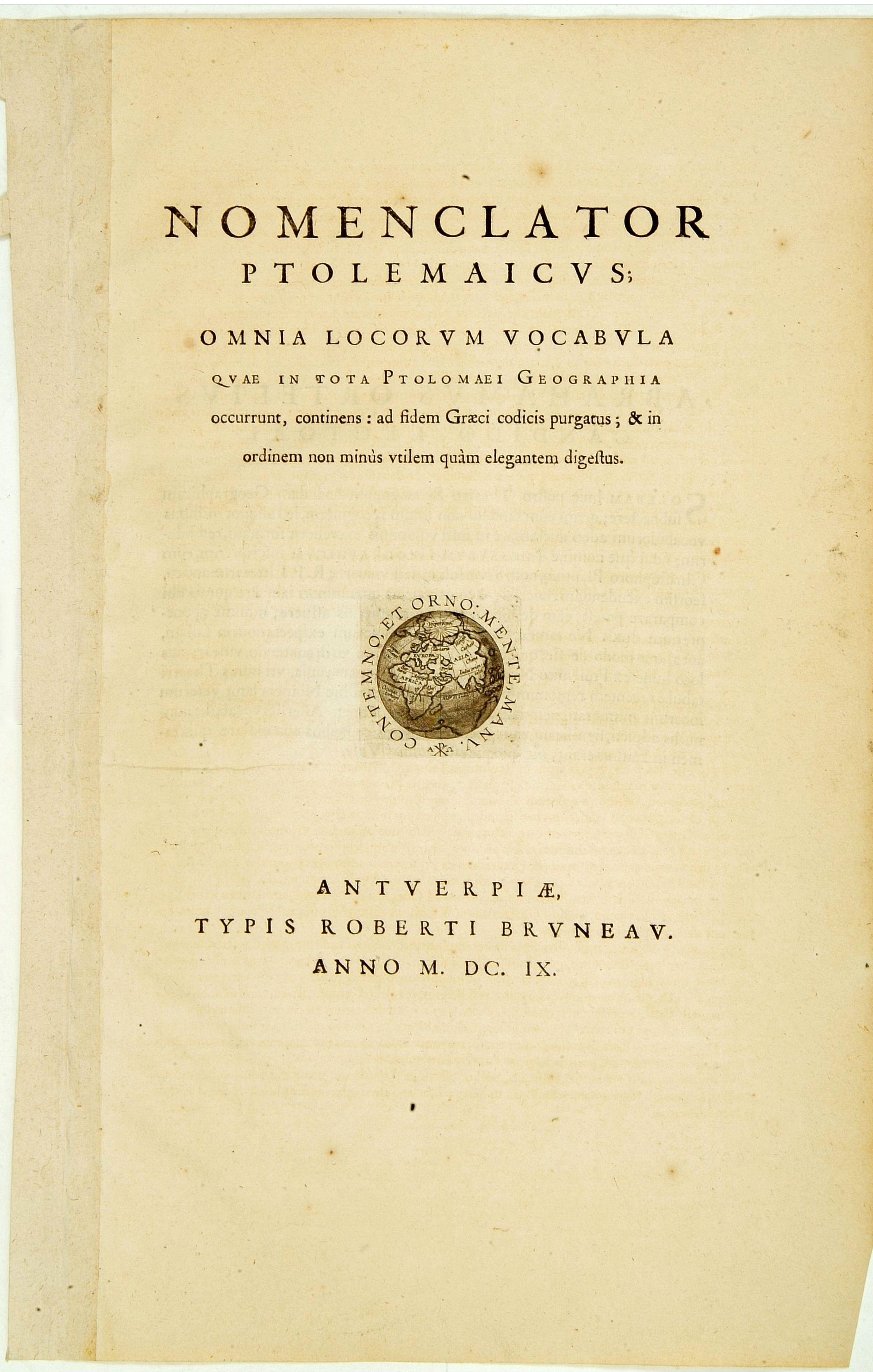 ORTELIUS, A. -  Titlepage: Nomenclator Ptolemaicus..
