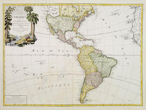 JANVIER,Sr. -  L'Amerique divisée en ses principaux Etats..