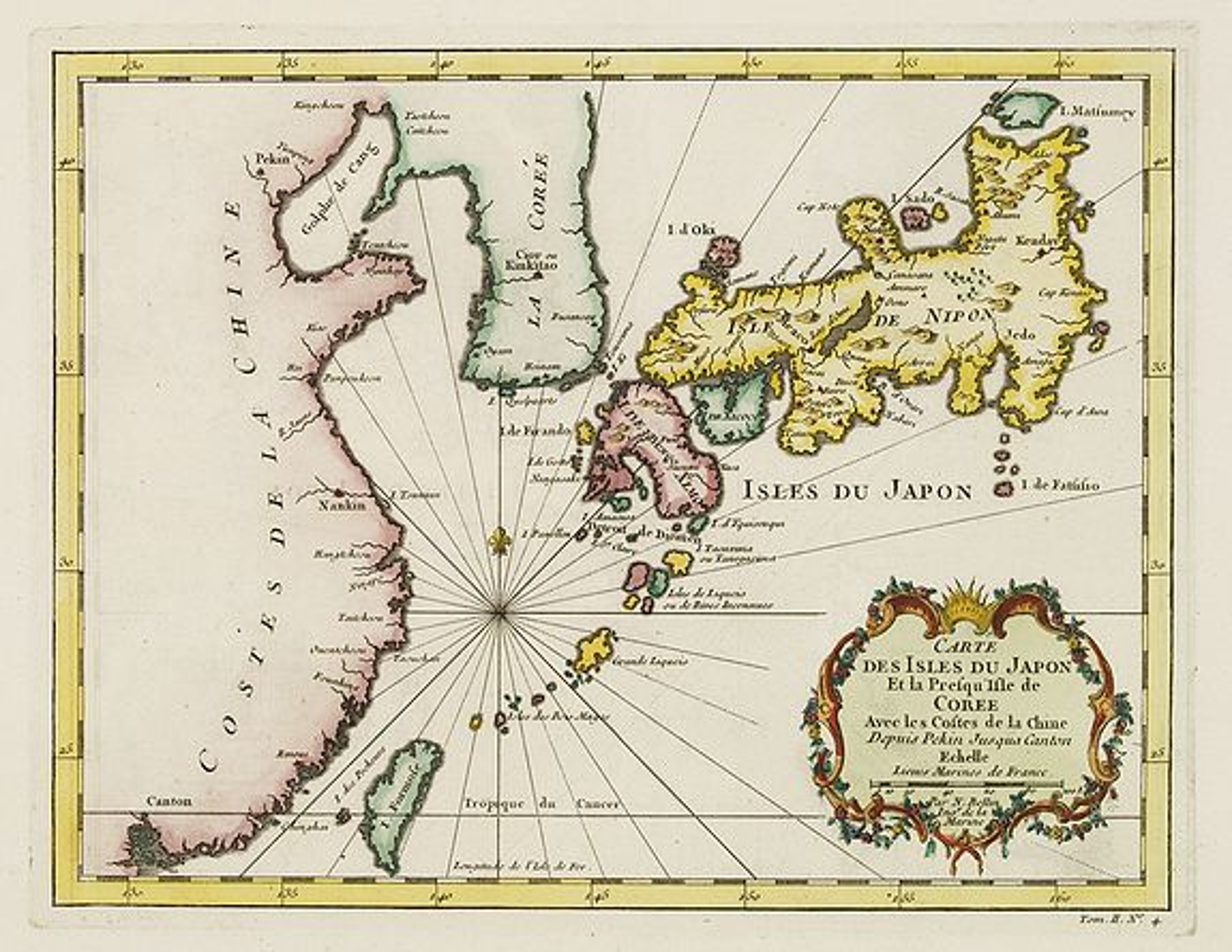 BELLIN, J.N. -  Carte des Isles du Japon et la Presqu'Isle de Coree. . .