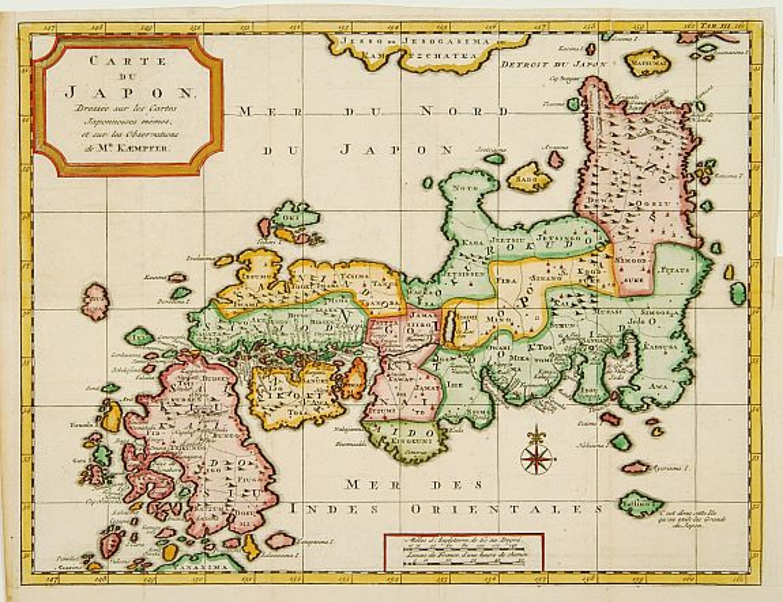 TIRION, I. / KAEMPFER, E. -  Carte du Japon, Dressée sur les Cartes Japonnoises. . .