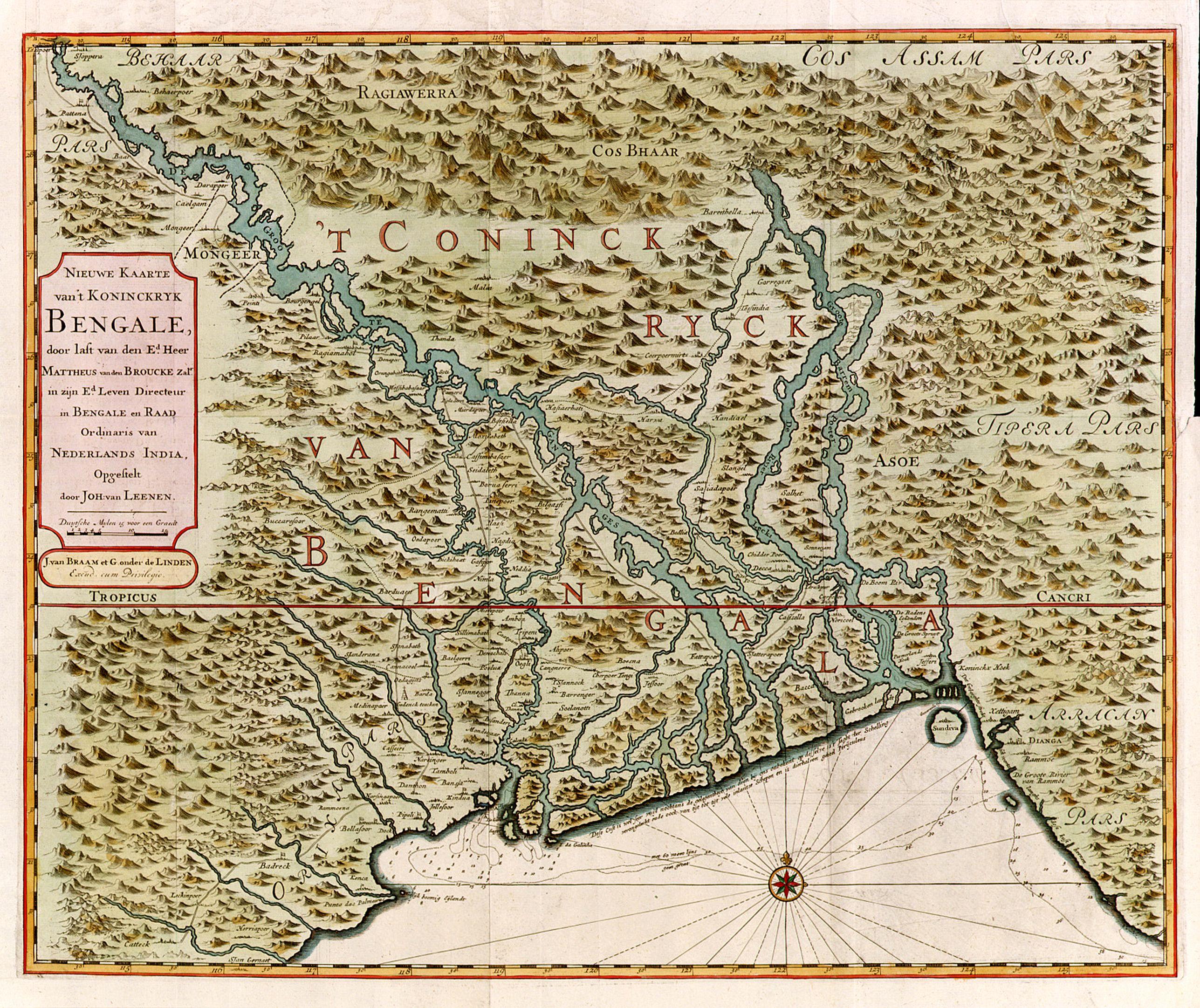 VALENTIJN, F. -  Nieuwe kaart van 't Koninckryk Bengale. . .