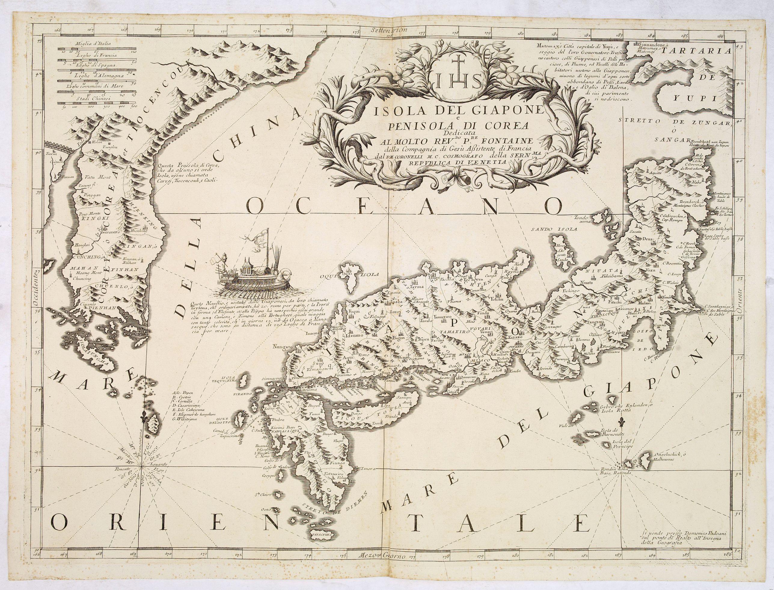CORONELLI, V.M. -  Isola del Giapone e penisola di Corea.