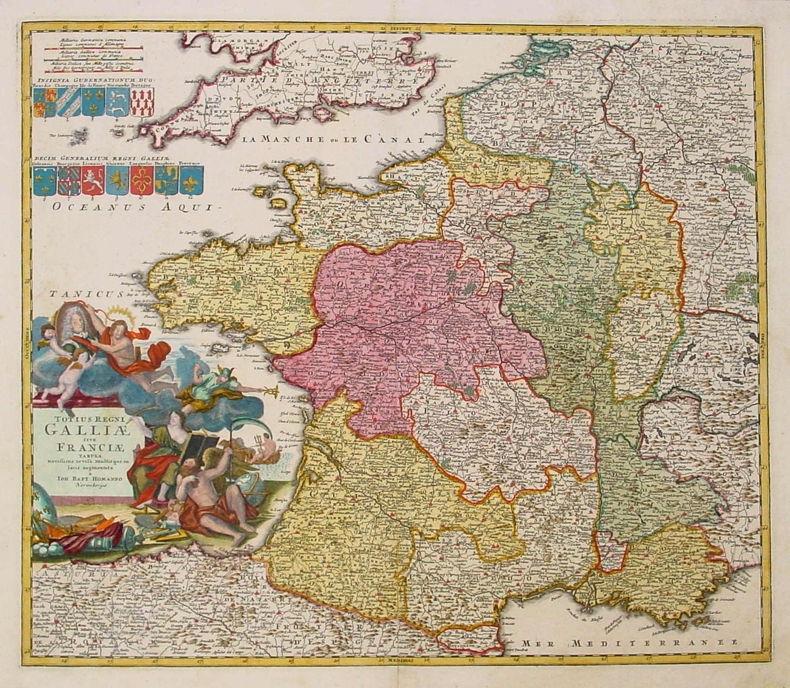 HOMANN, Héritiers. -  Totius Galliae sive Franciae tabula..