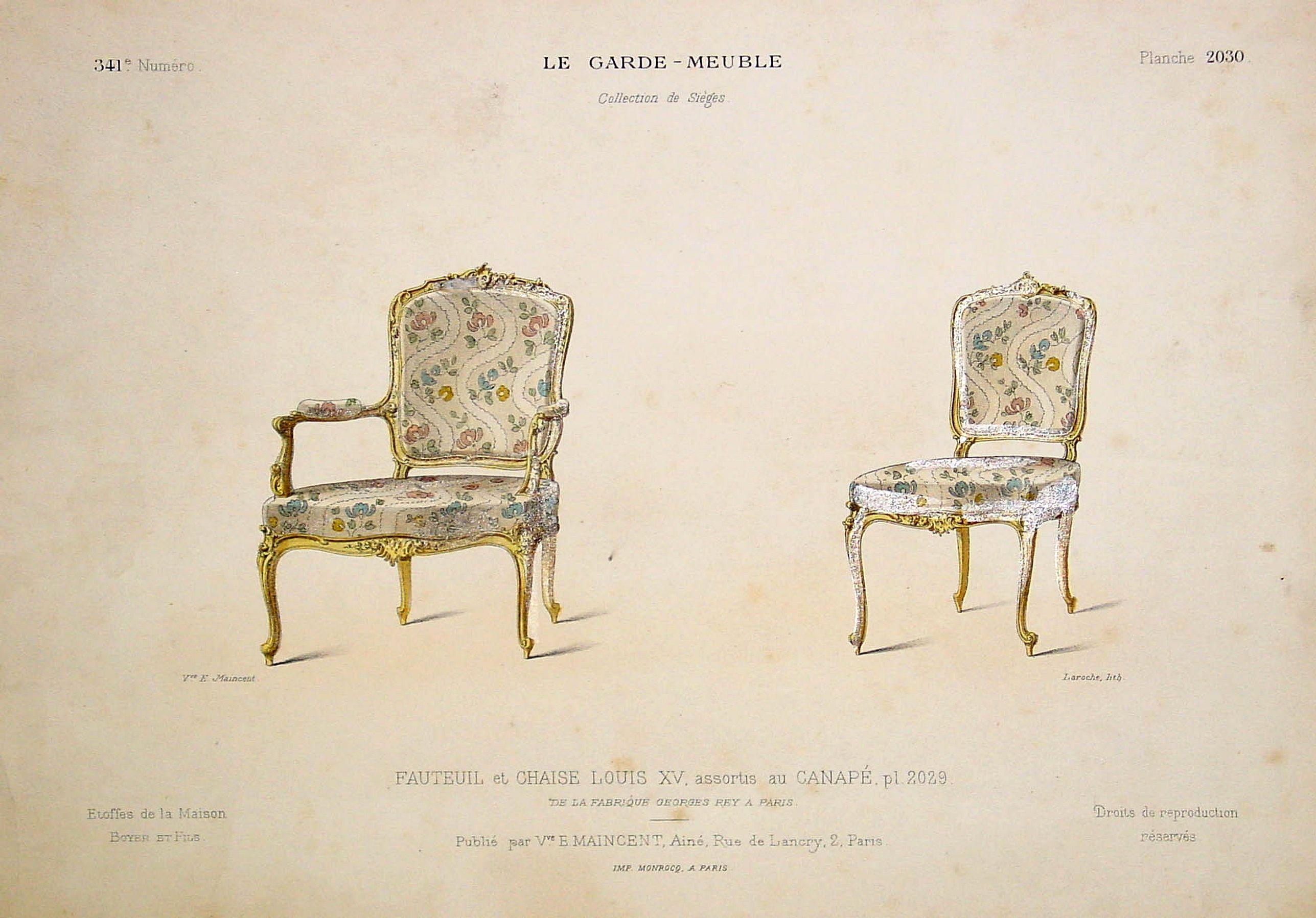 MAINCENT,E. -  Fauteuil et Chaise Louis XV. . .