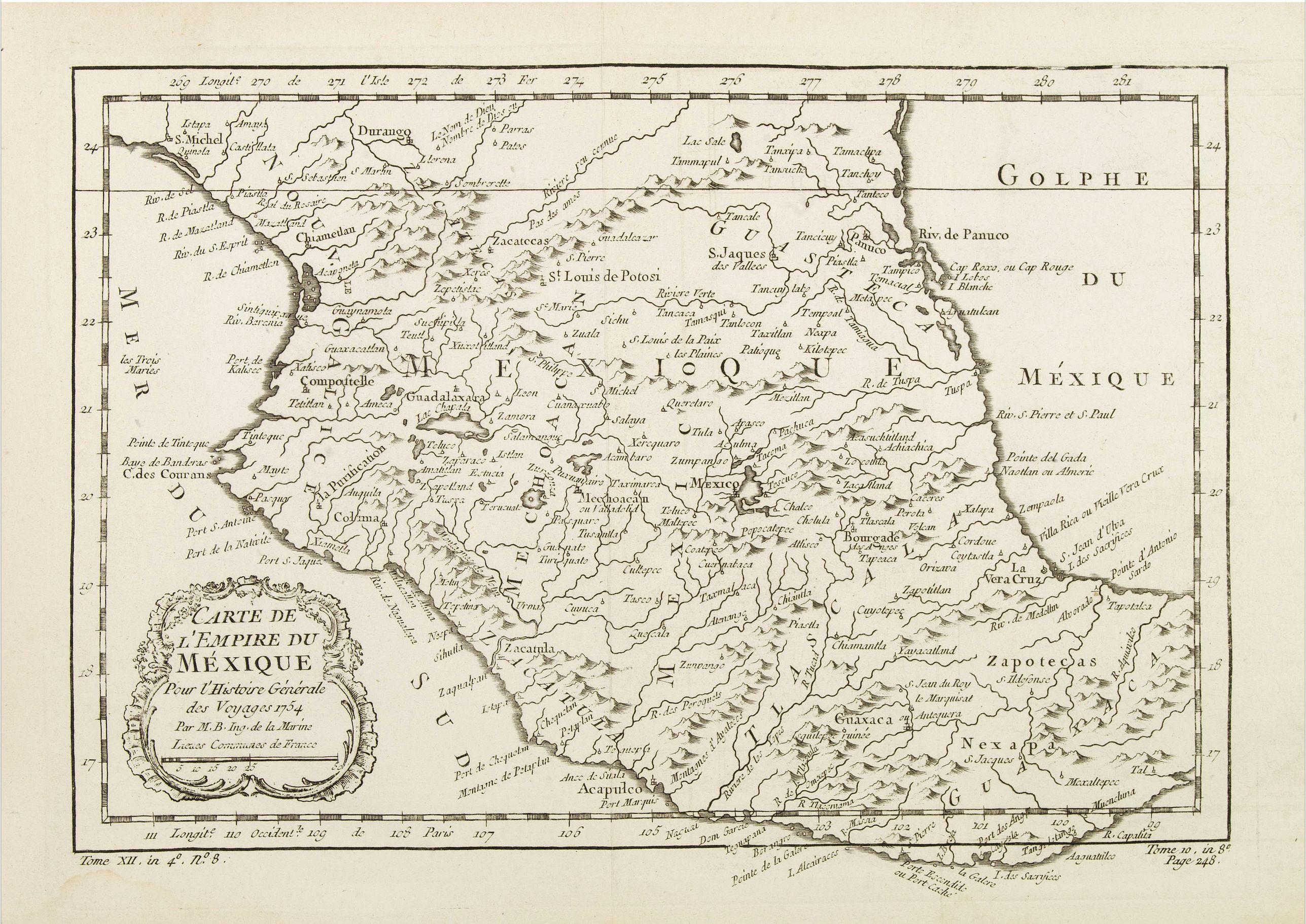 BELLIN, J.N. -  Carte de L'Empire du Mexico.
