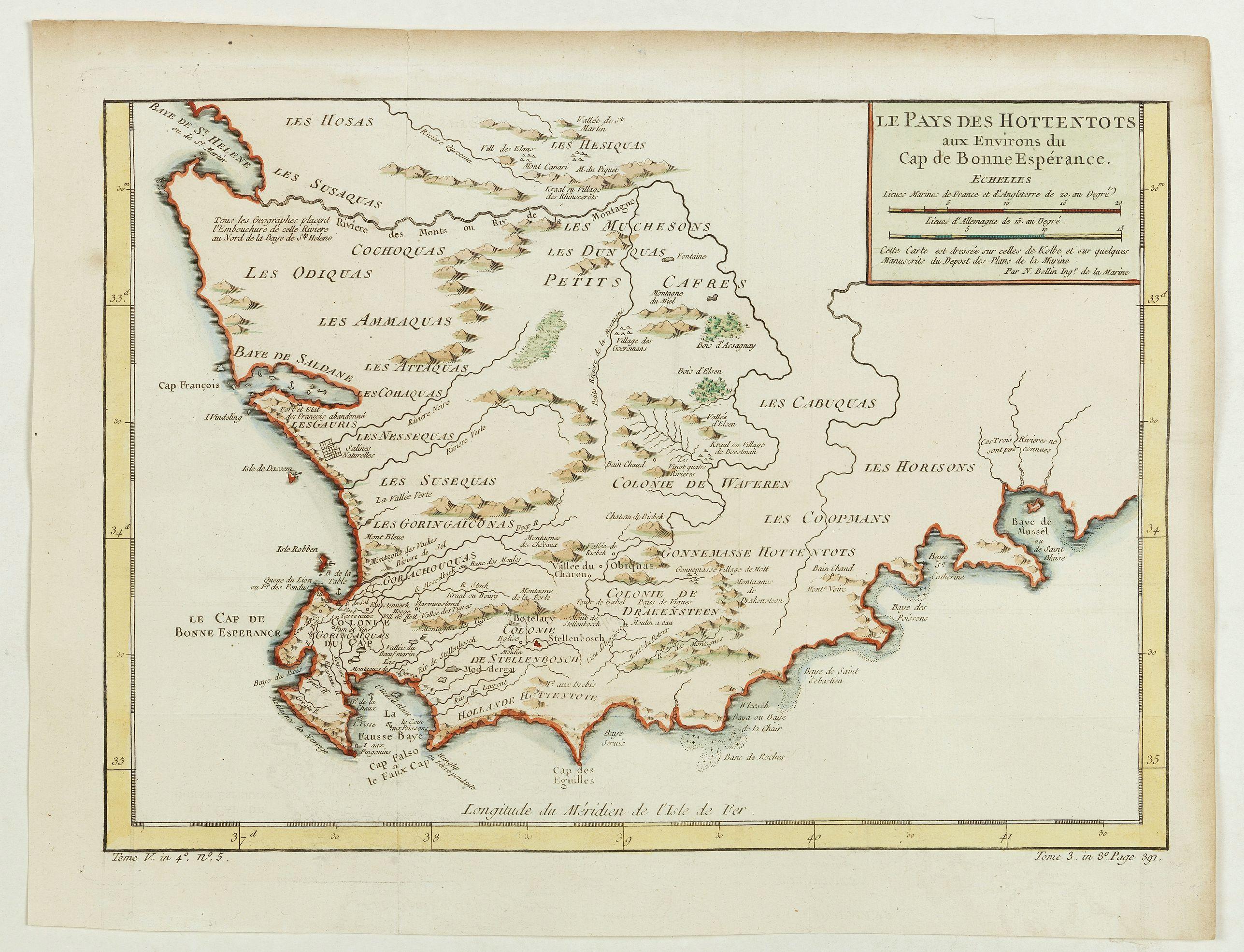 BELLIN, J.N. -  Le Pays des Hottentots aux environs du Cap de Bonne Espérance. . .