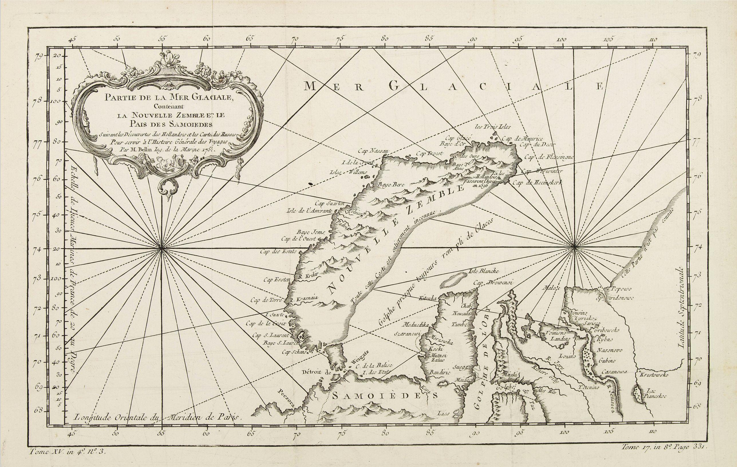 BELLIN, J.N. -  Partie de la Mer Glaciale contenant de la nouvelle Zemble..