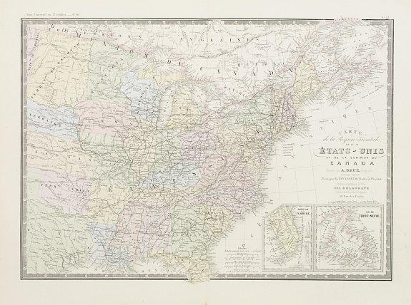 BRUÉ, A./ DELAGRAVE, Ch. -  Carte de la region orientale des Éts-Unis et  de la dominion du Canada.
