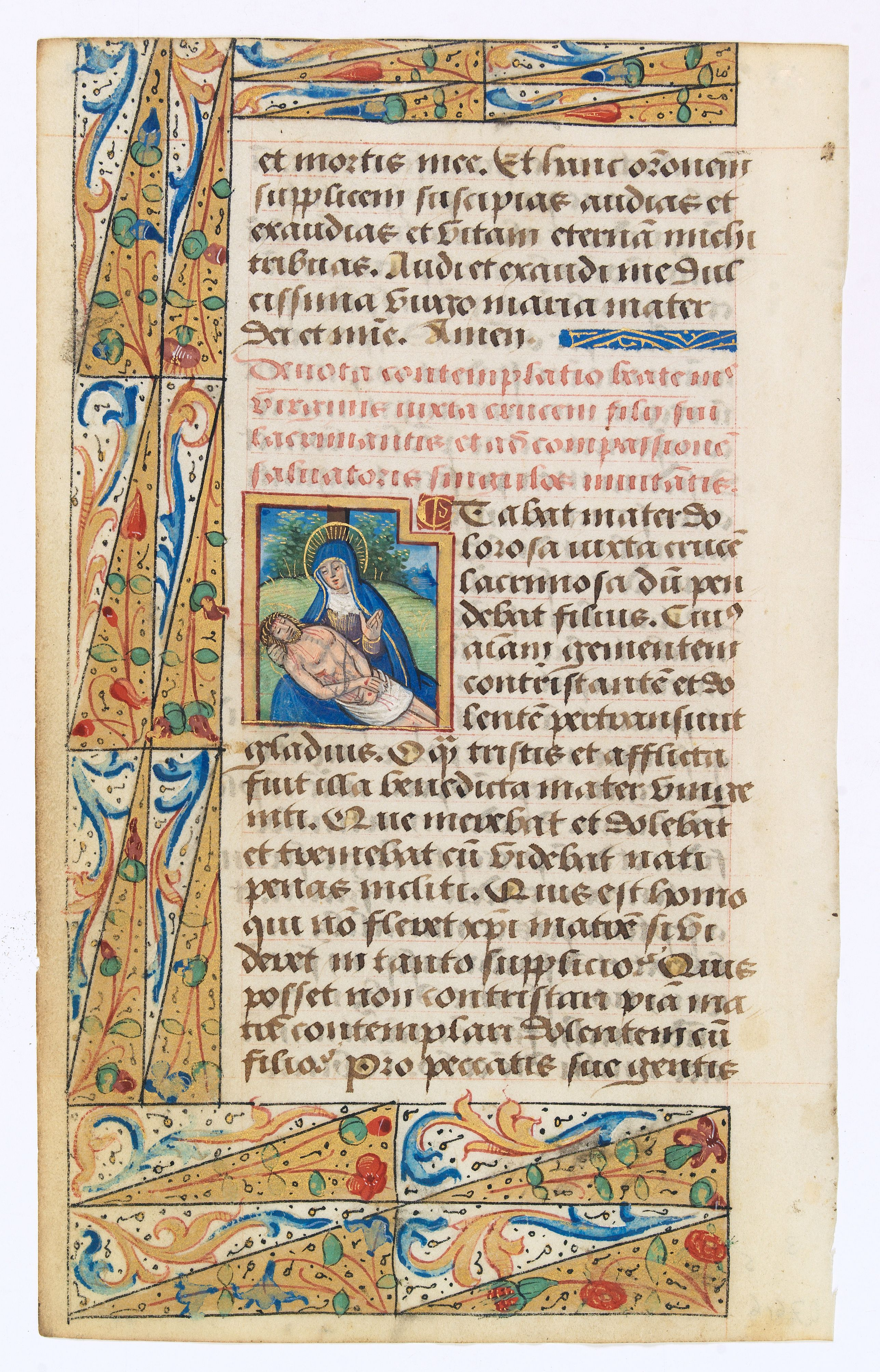 BOOK OF HOURS -  Leaf of vellum, with large miniature of Marry and Christ.