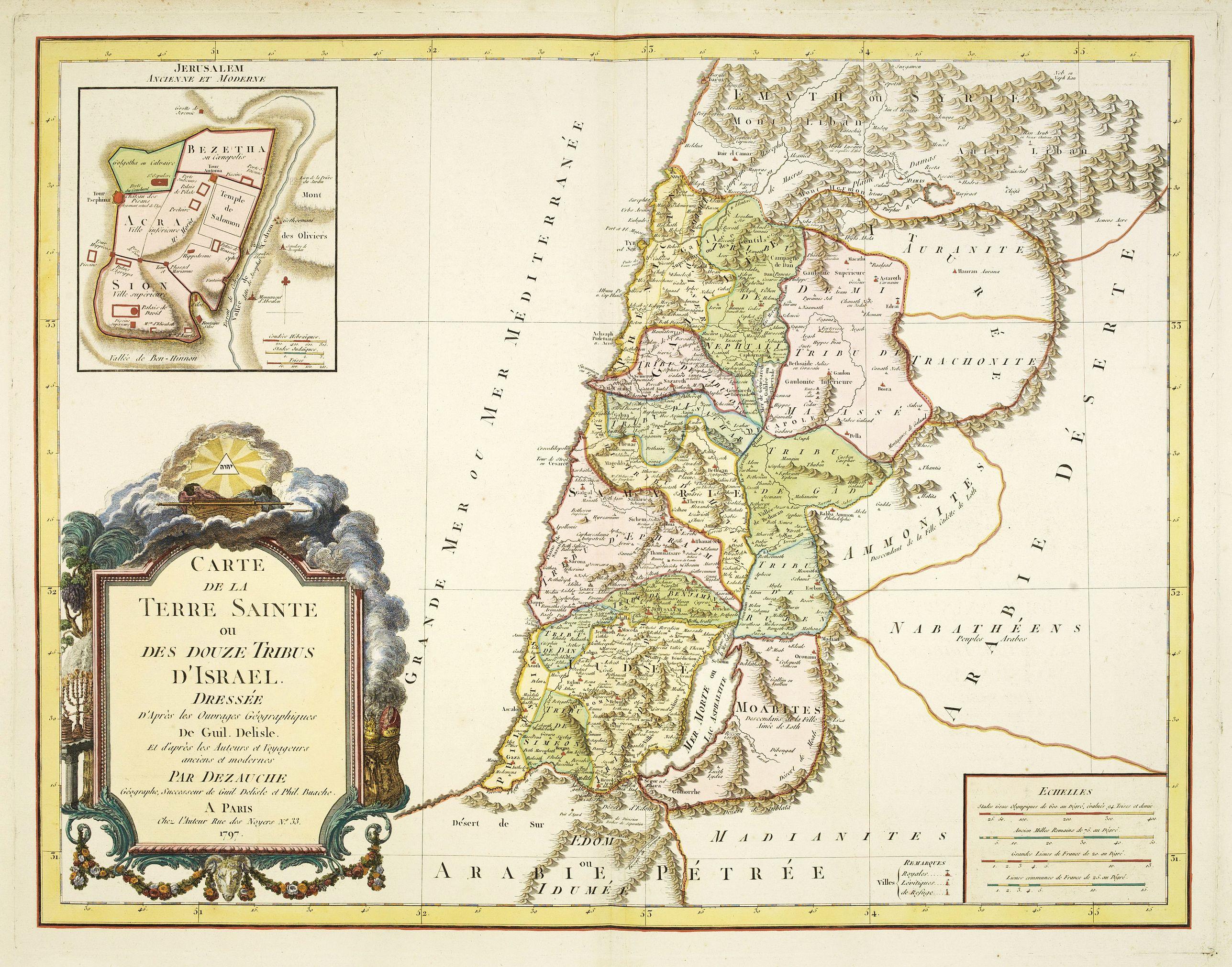 DE L'ISLE / DEZAUCHE -  Carte de La Terre Sainte ou des douze tribus d'Israel. . .