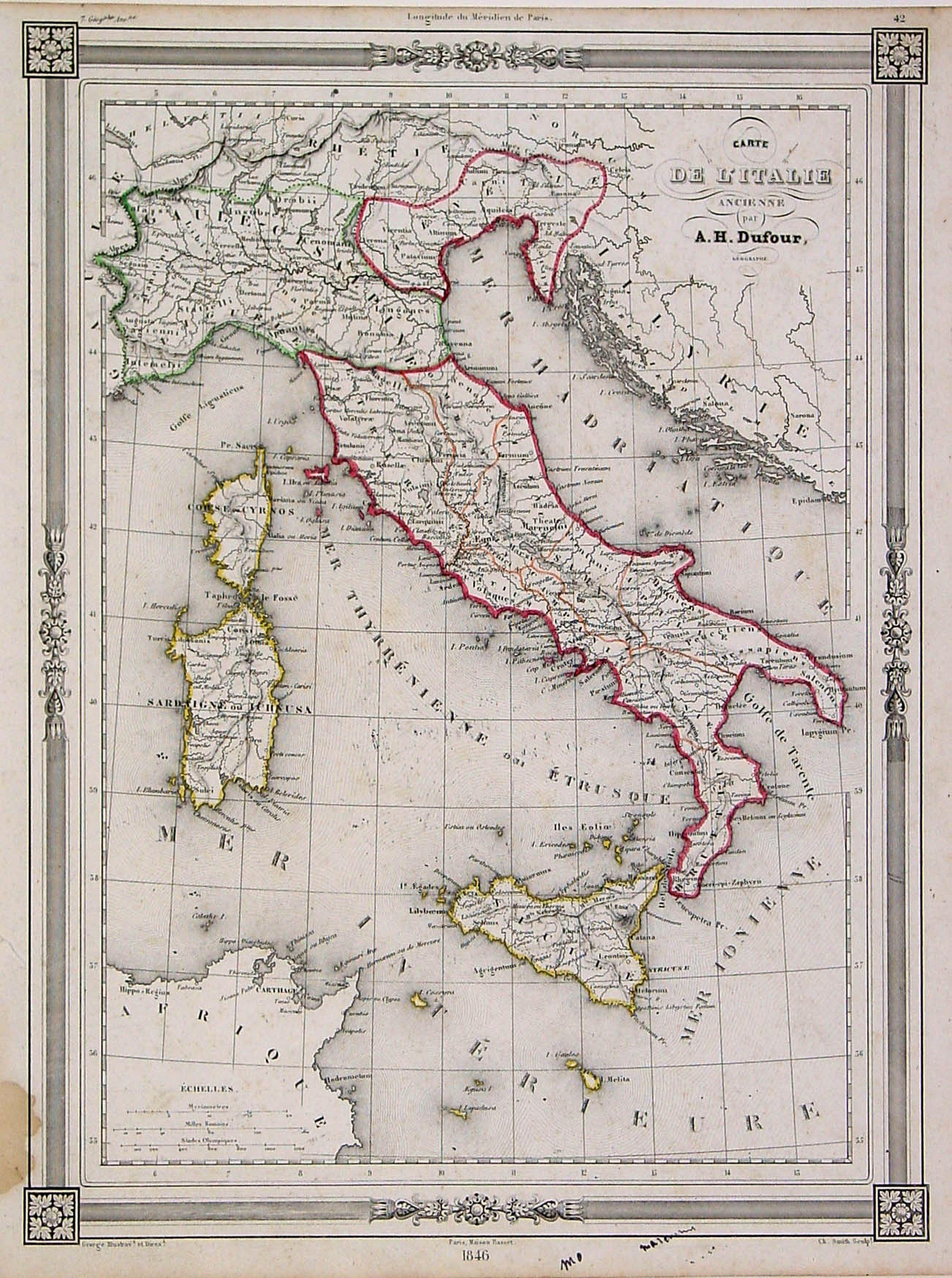 BASSET -Carte de L'Italie Ancienne..