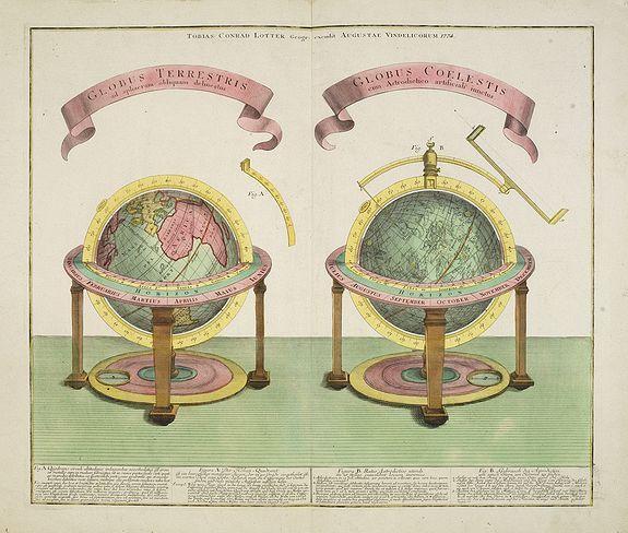 LOTTER, T.C. -  GLOBUS TERRESTRIS ad sphaeram obliquam delineatus. and the GLOBUS COELESTIS cum Astrodictico artificiali iunctus.