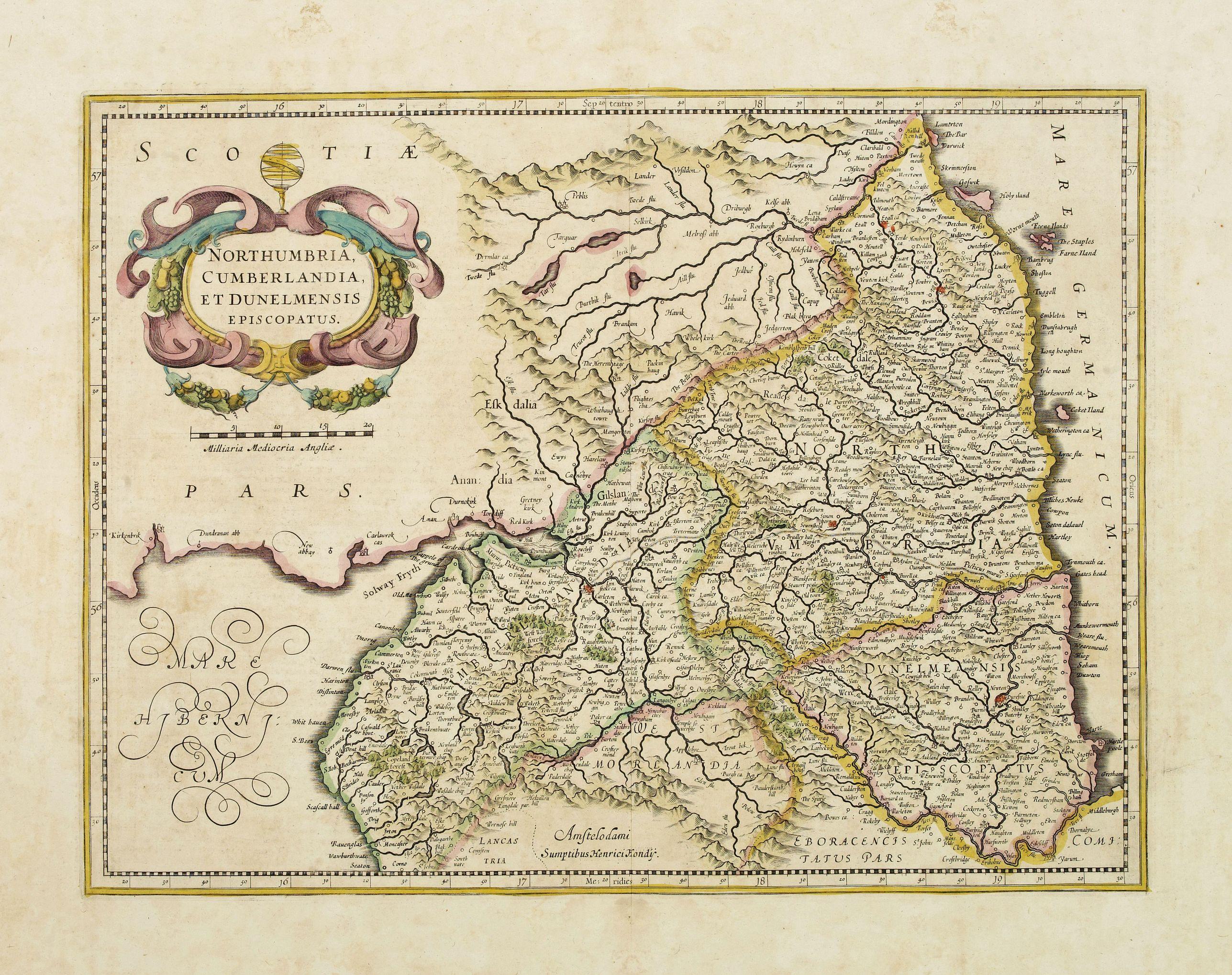 HONDIUS, H. -  Northumbria, Cumberlandia et Dunelmensis Episcopatus..