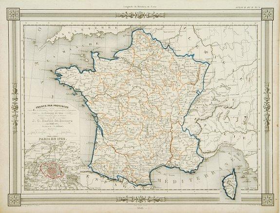 Old Map Of France.Old Map By Dufour France Par Provinces
