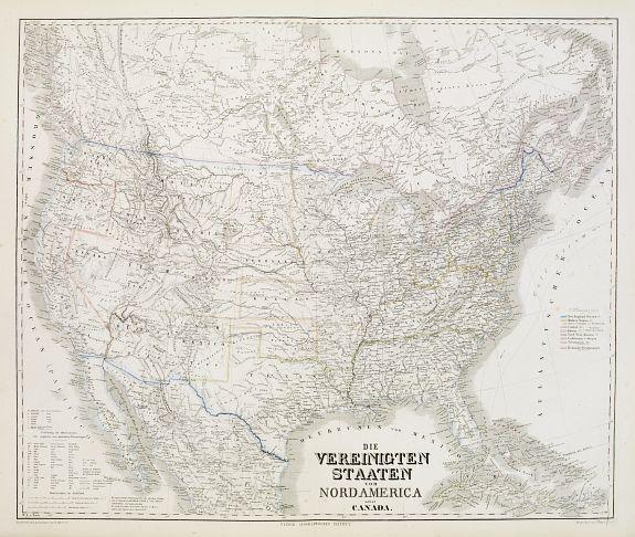 KIEPERT, H. -  Die Vereinigten Staten von Nordamerika nebst Canada.
