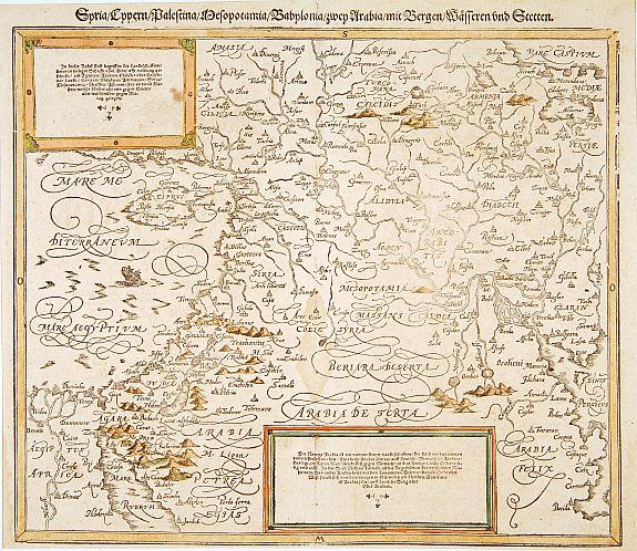 MÜNSTER, S. -  Syria / Cypern / Palestina Mesopotamia / Babylonia / zwen Arabia / mit Bergen / Wasseren und Stetten.
