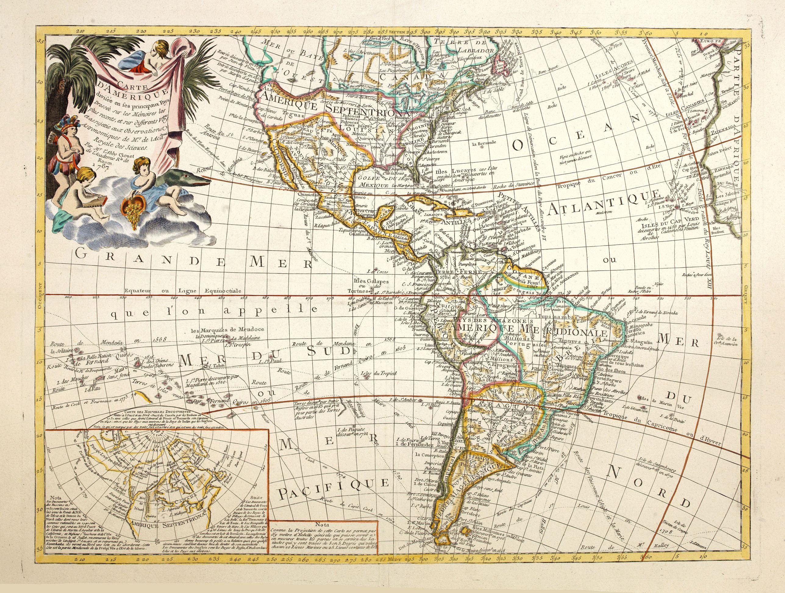 CLOUET, J.B.L.L'Abbe -  Carte D'Amerique divisée en ses principaux Pays, Dressee sur les Mémoires les plus recnetes, et sur differents Voyages . . . 1787