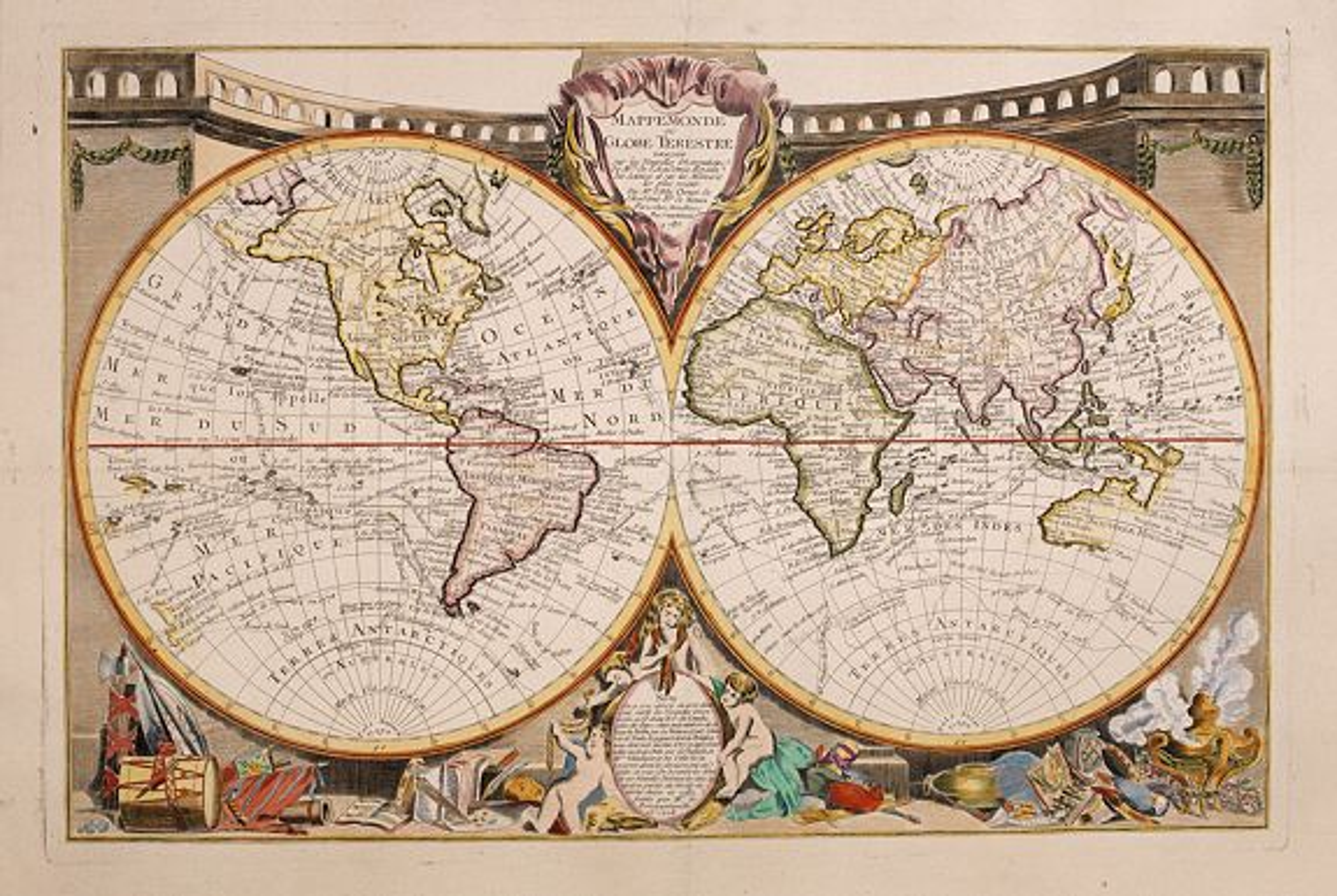 CLOUET, J.B.L.L'Abbe -  Mappemonde ou globe terestre