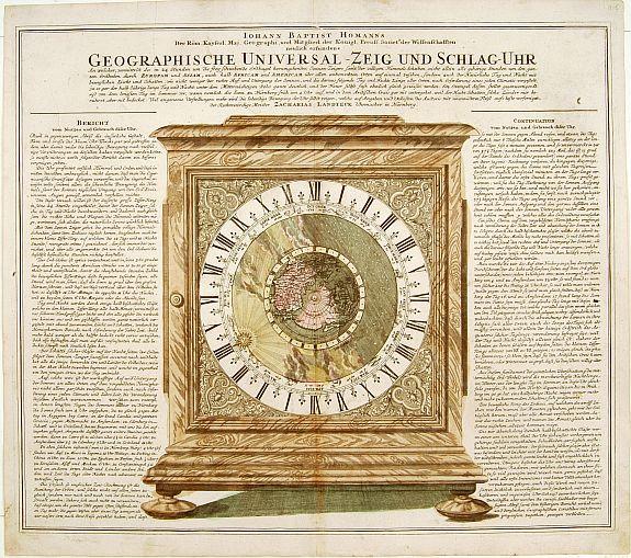 HOMANN, J.B. -  Geographische Universal-Zeig und Slag-Uhr.