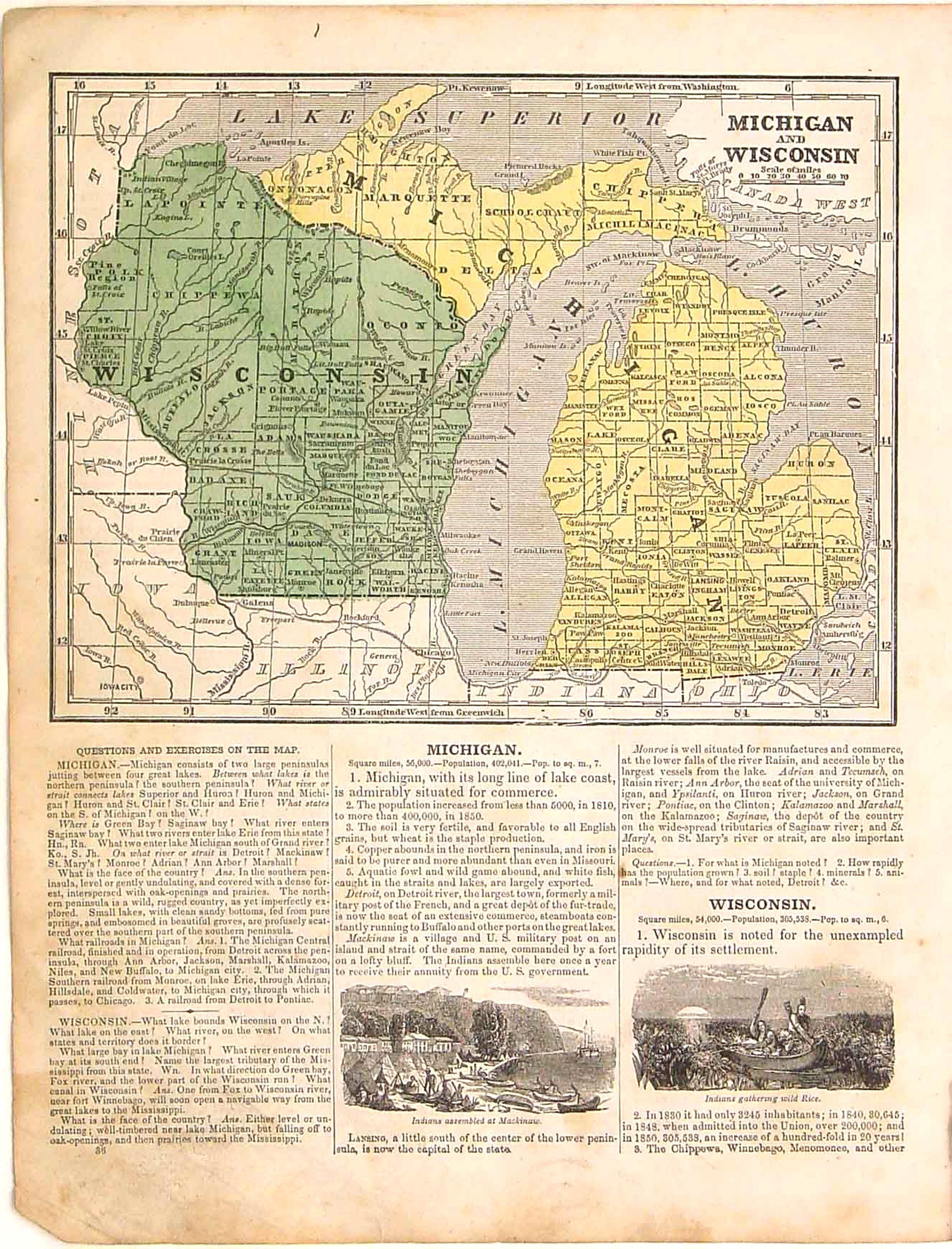 Michigan And Wisconsin Map.Morse Michigan And Wisconsin