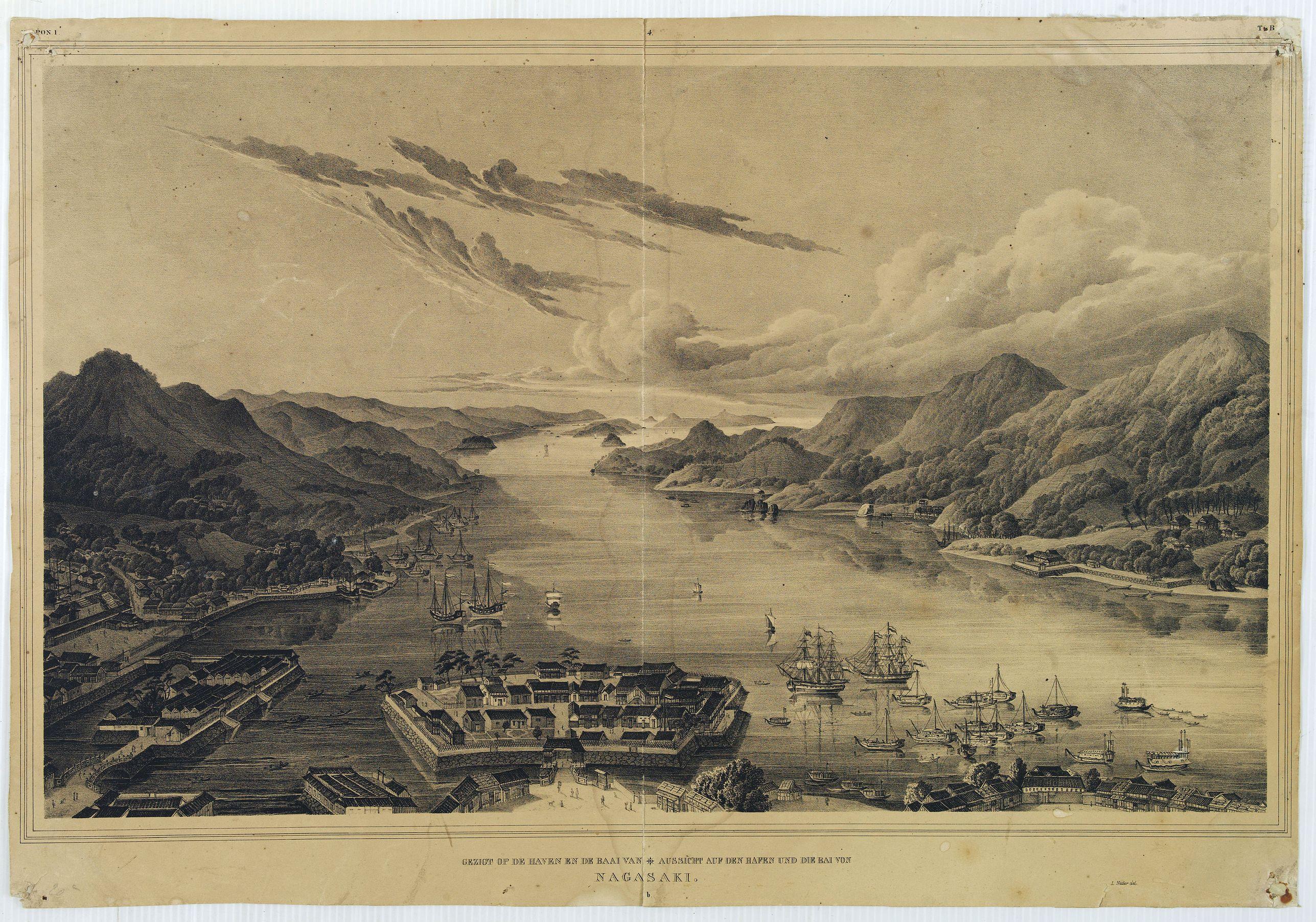 VON SIEBOLD, P.Fr.B. - Gezigt op de haven en de baai van Nagasaki..